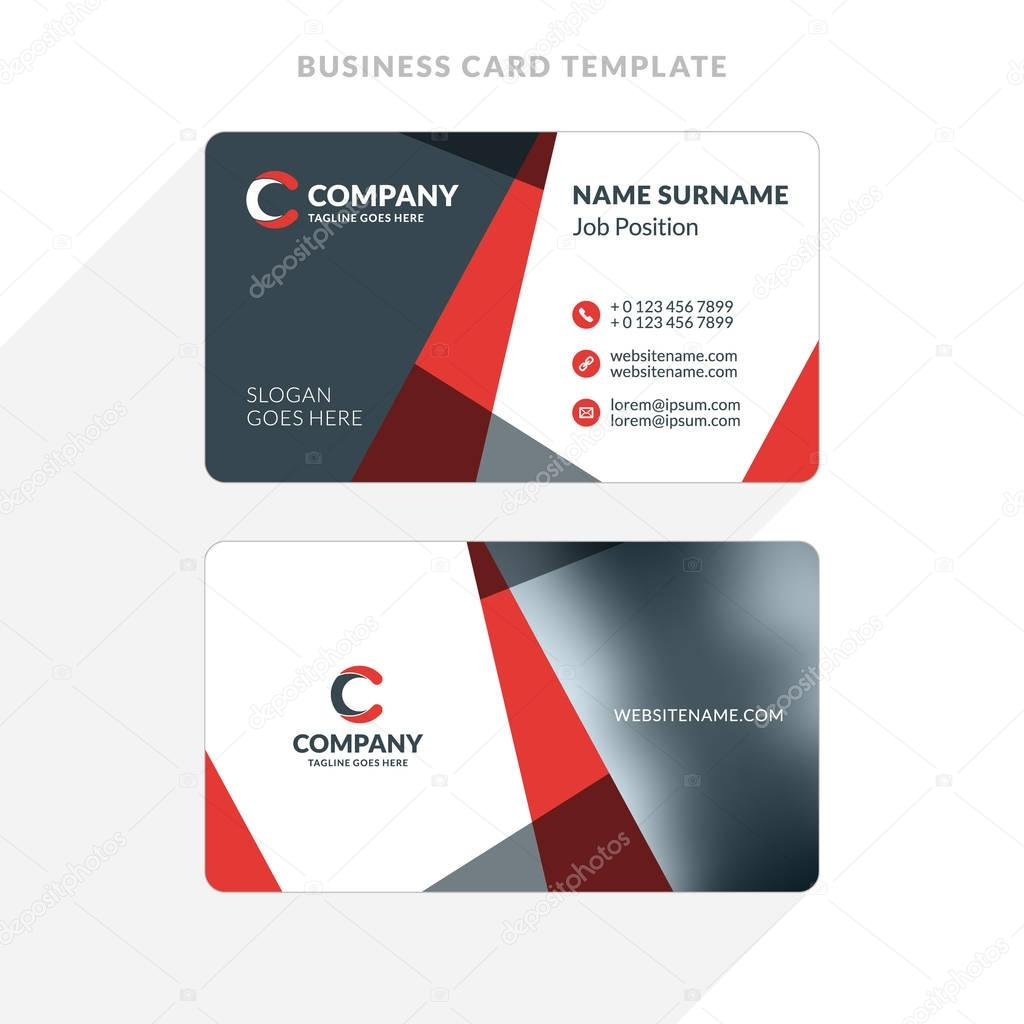 creative and clean double sided business card template red and
