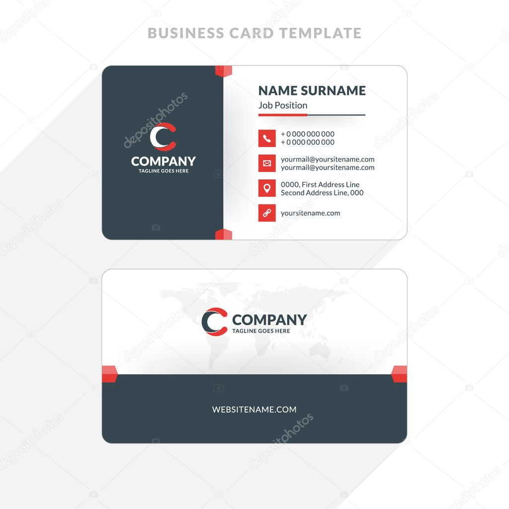 Creative and clean double sided business card template red and creative and clean double sided business card template red and black colors flat wajeb Image collections