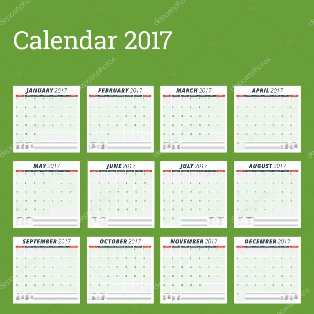 calendar planner template for 2017 year week starts sunday set of