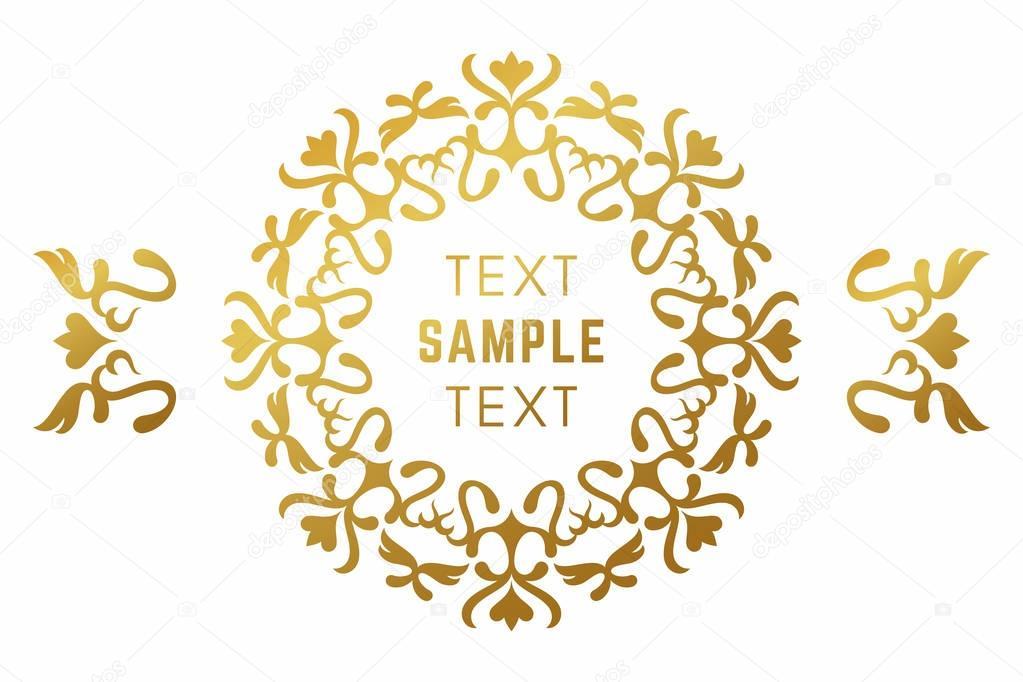 Golden luxurious logo frame. Golden on white background. Vector ...