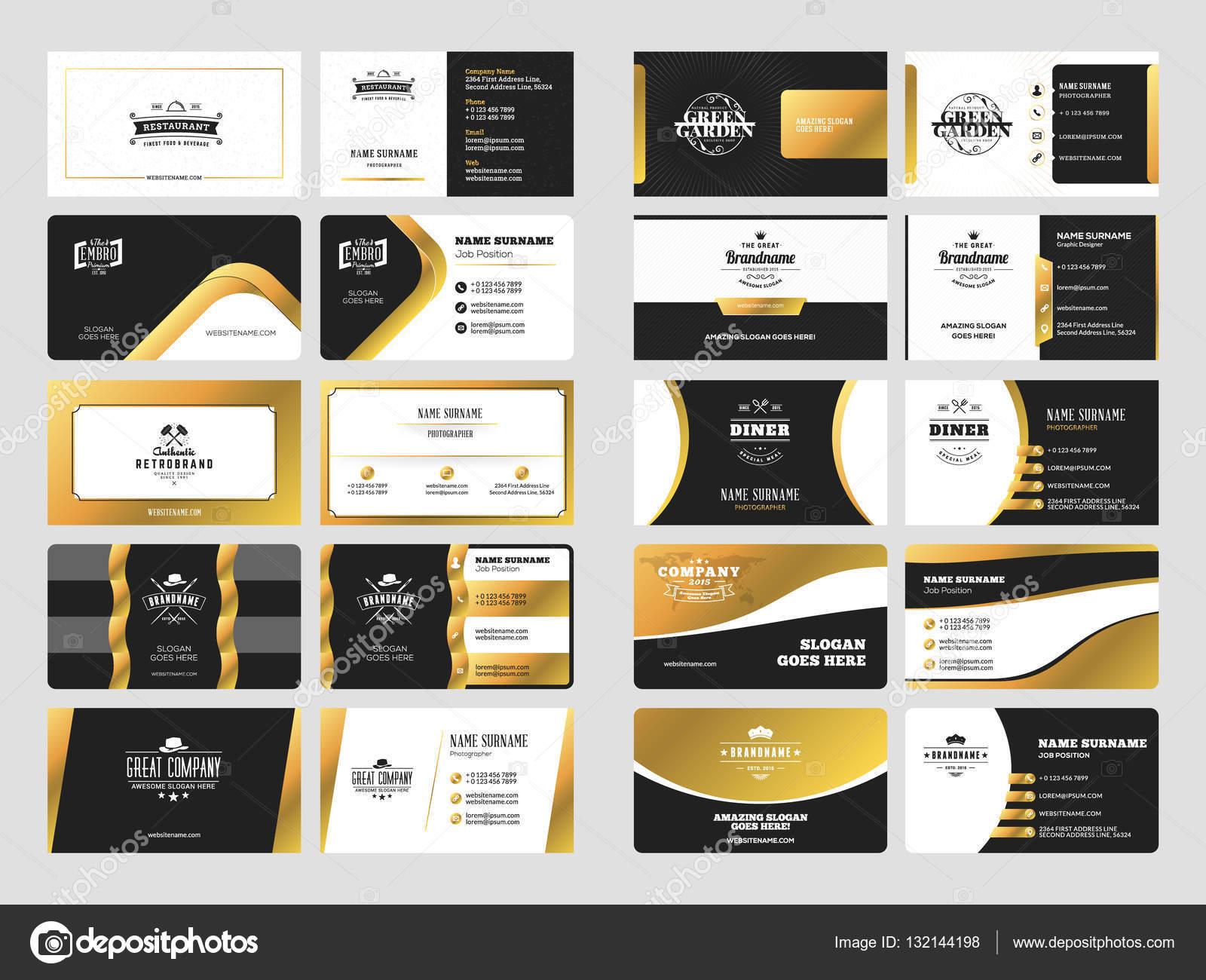 Reihe Von Eleganten Doppelseitige Visitenkarten Vorlagen Mit