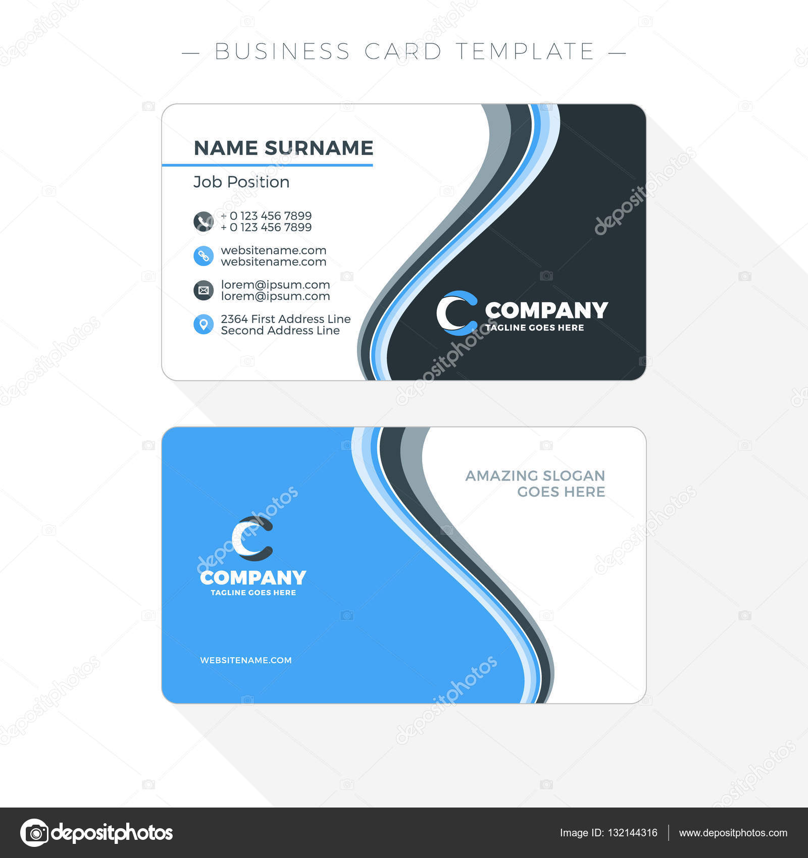 Double-sided Business Card Template with Abstract Blue and Black ...