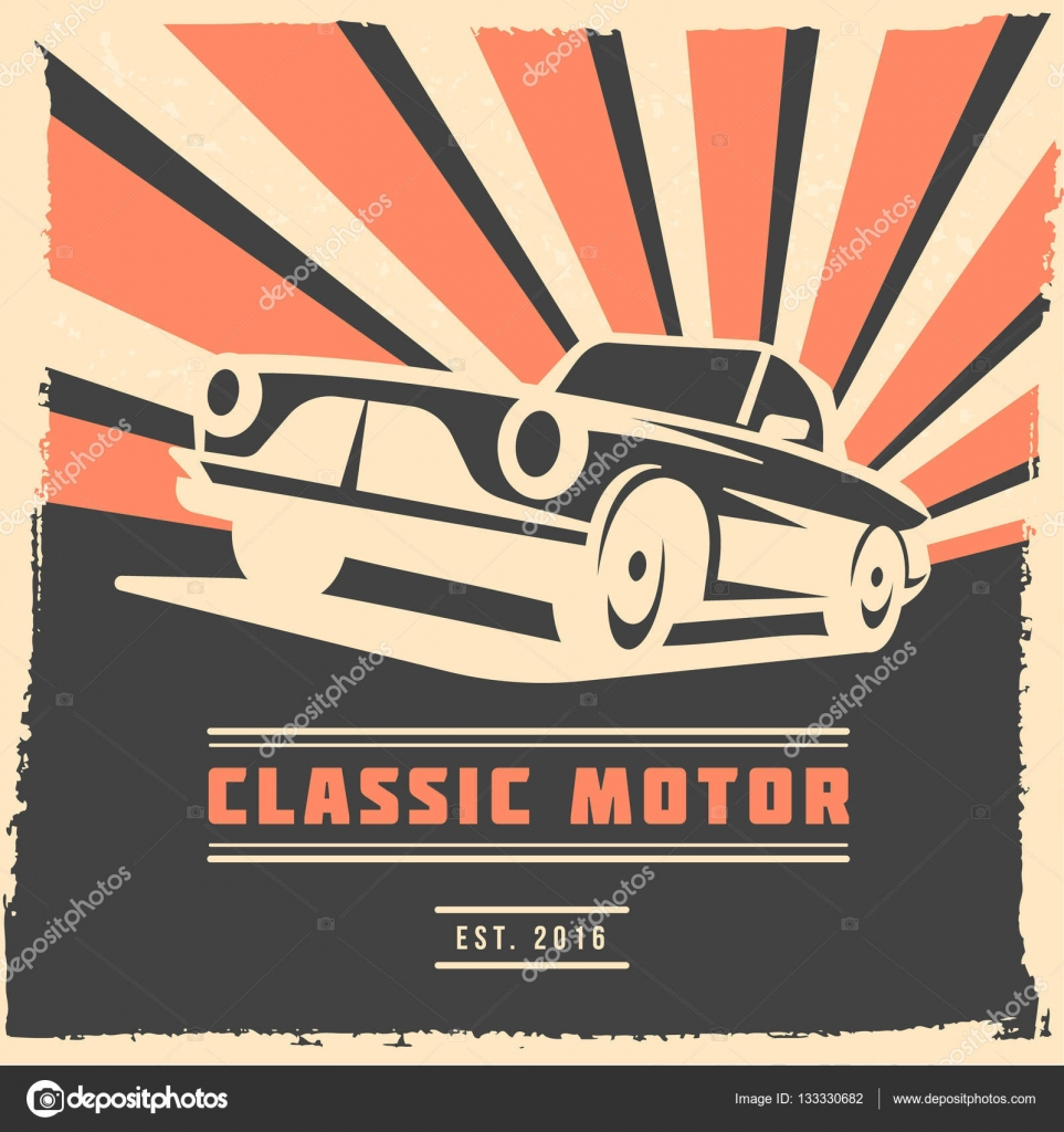 Poster design vector download - Retro Car Flyer Or Poster Design With Grunge Frame And Rays Vector Illustration Stock