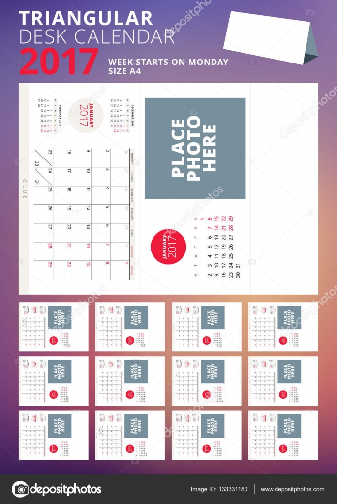 Calendario da tavolo triangolare per l 39 anno 2017 set di 12 mesi settimana inizia il luned - Calendario 2017 da tavolo ...