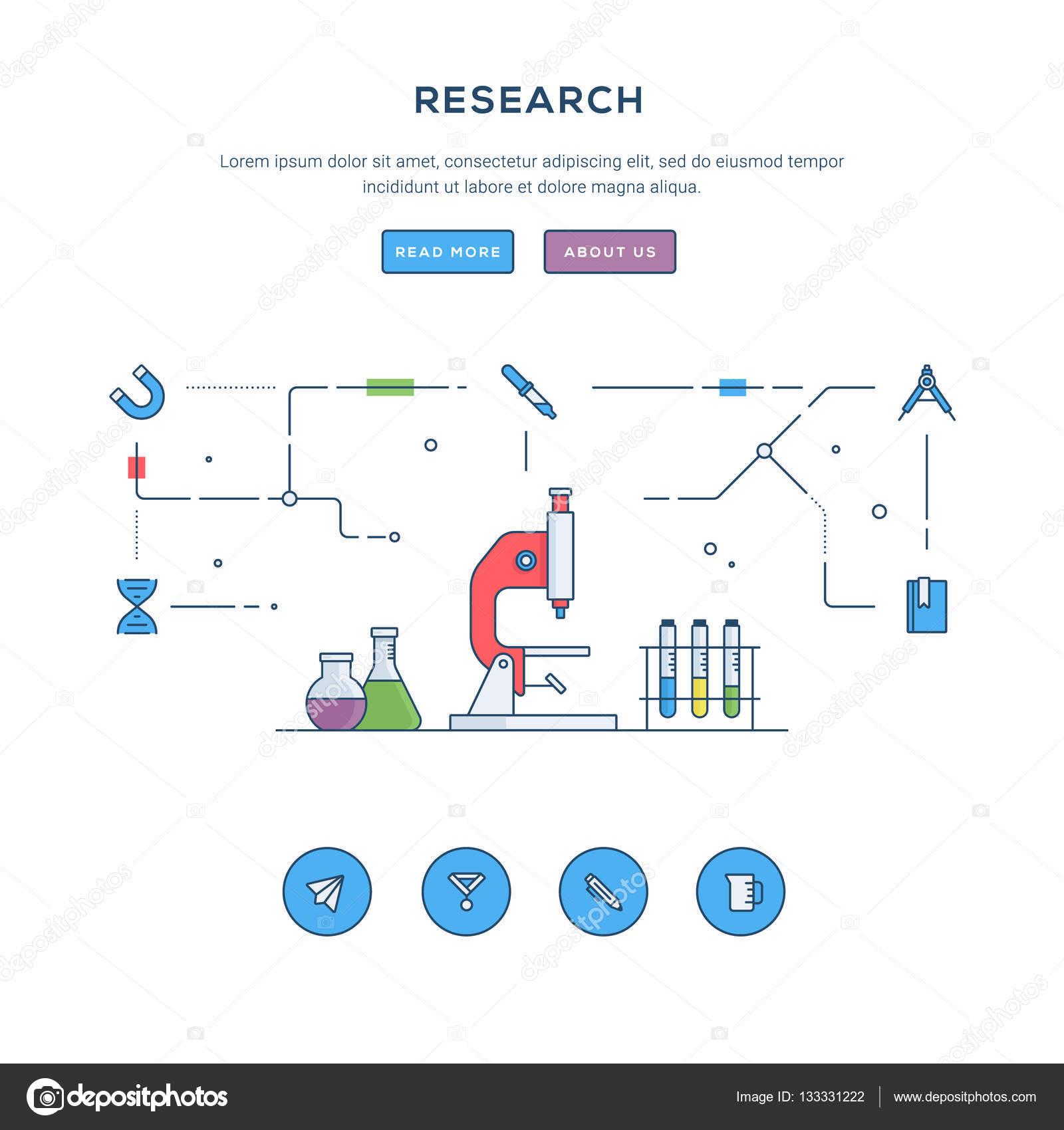 Investigación. Plano línea negocio web banner la plantilla. Iconos ...