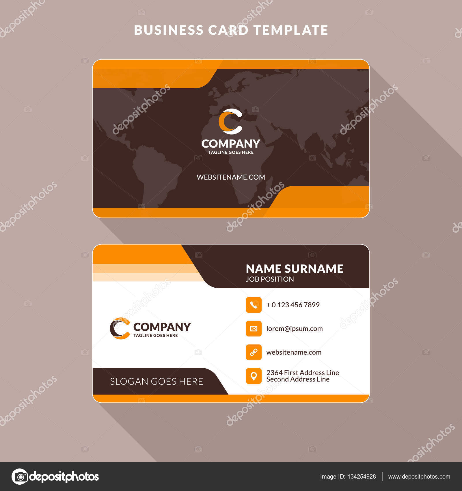 Creative and clean double sided business card template orange and creative and clean double sided business card template orange and brown colors flat wajeb Gallery
