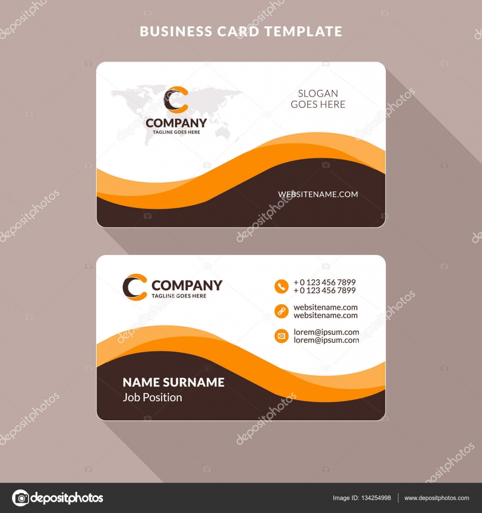 creative and clean double sided business card template orange and