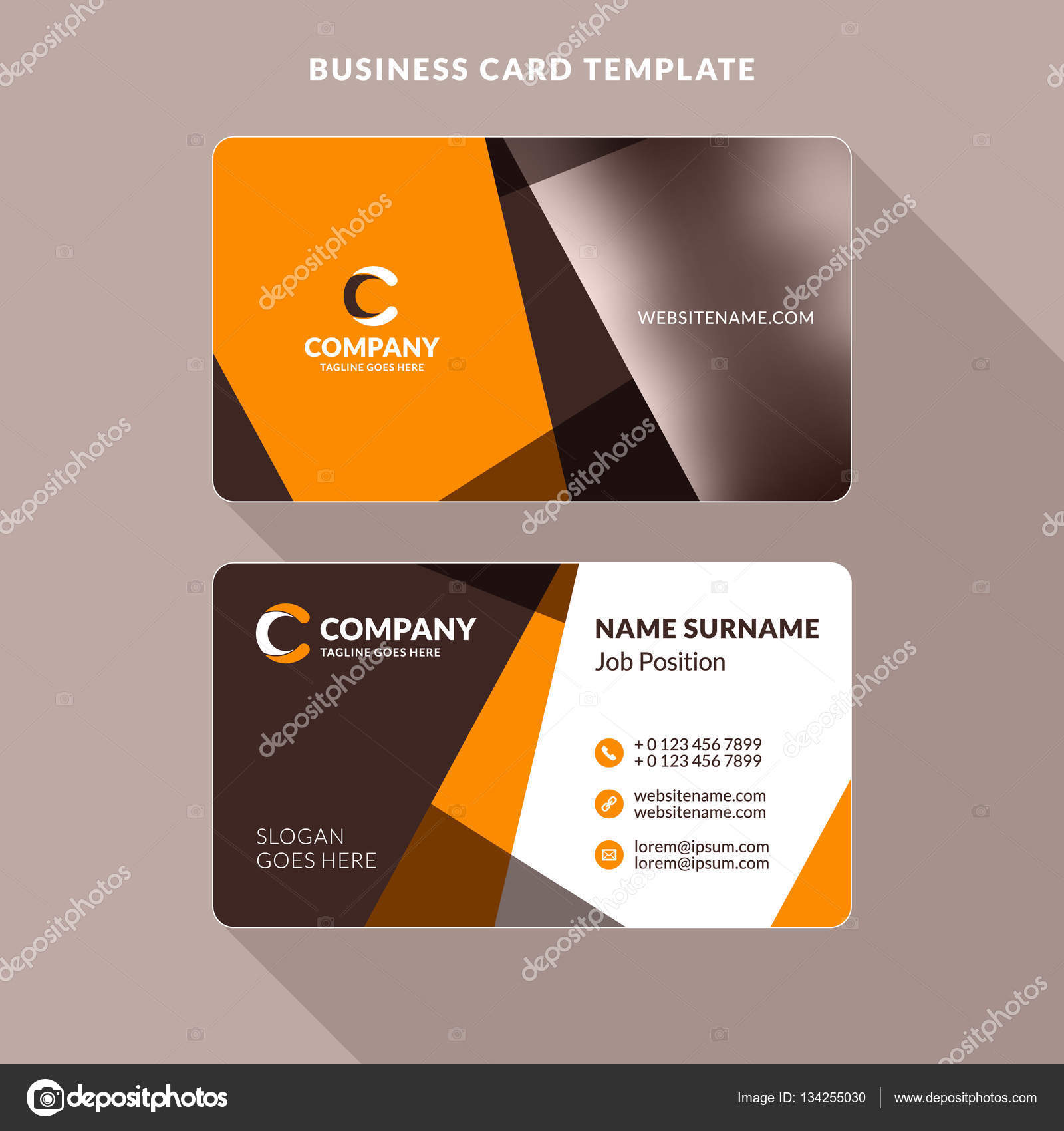 Creative and clean double sided business card template orange and creative and clean double sided business card template orange and brown colors flat reheart Image collections