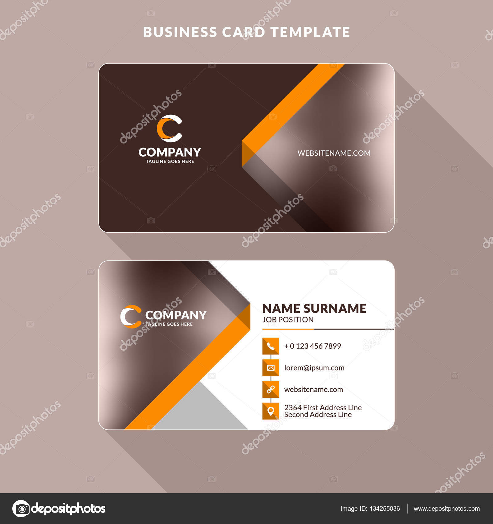 Creative and clean double sided business card template orange and creative and clean double sided business card template orange and brown colors flat cheaphphosting Gallery
