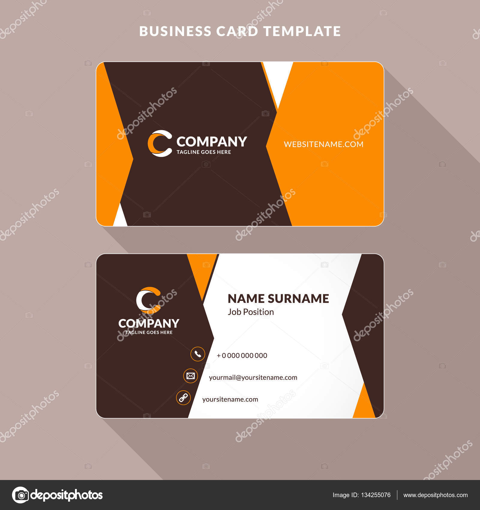 Creative and clean double sided business card template orange and creative and clean double sided business card template orange and brown colors flat wajeb Image collections