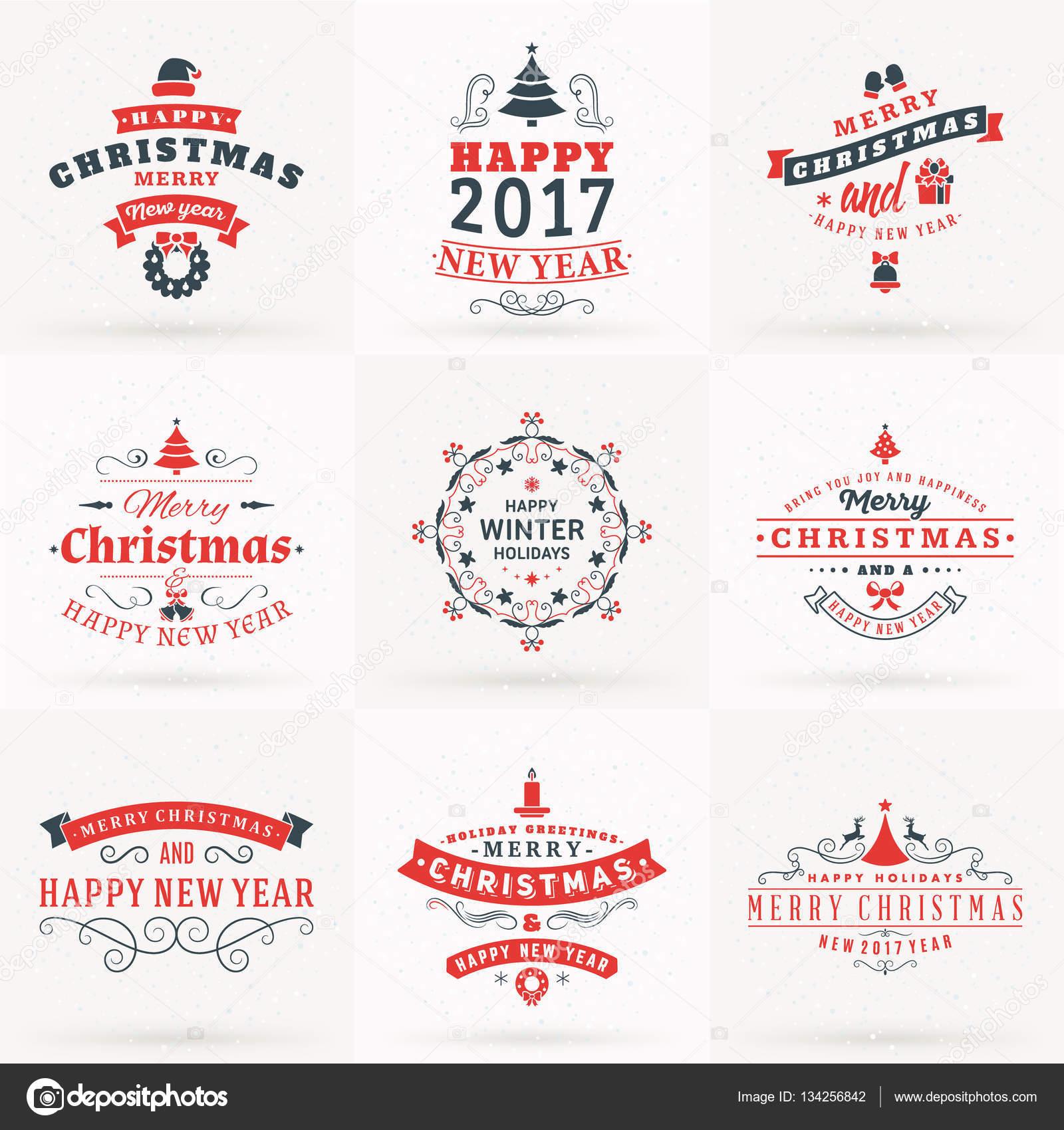 Satz von Frohe Weihnachten und guten Rutsch dekorative Badges für ...