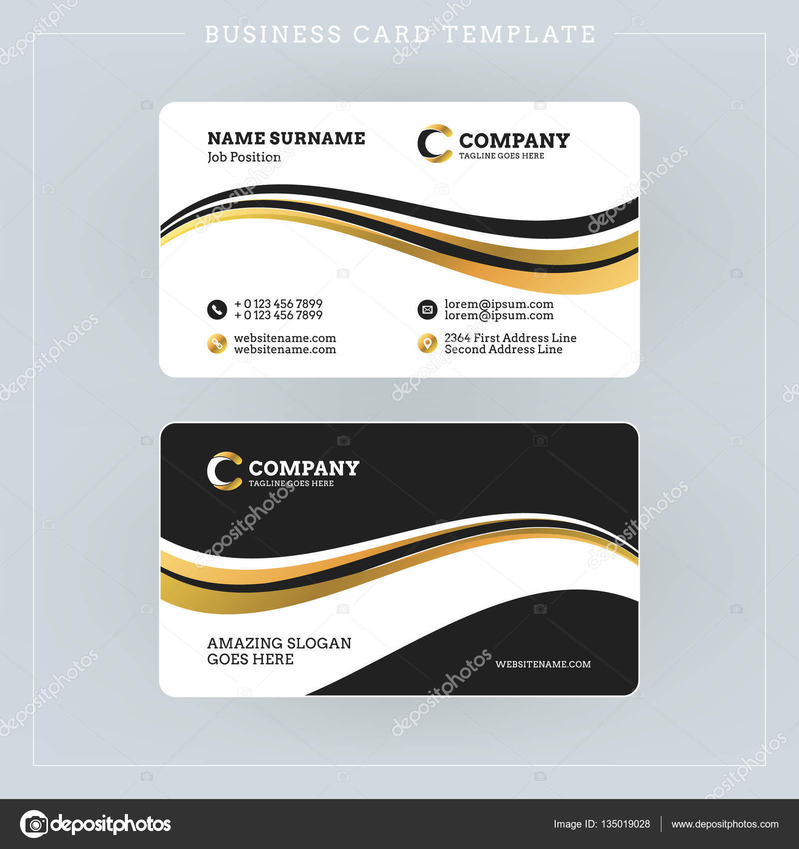 Double sided business card template with abstract golden and black double sided business card template with abstract golden and black waves background vector illustration flashek Gallery