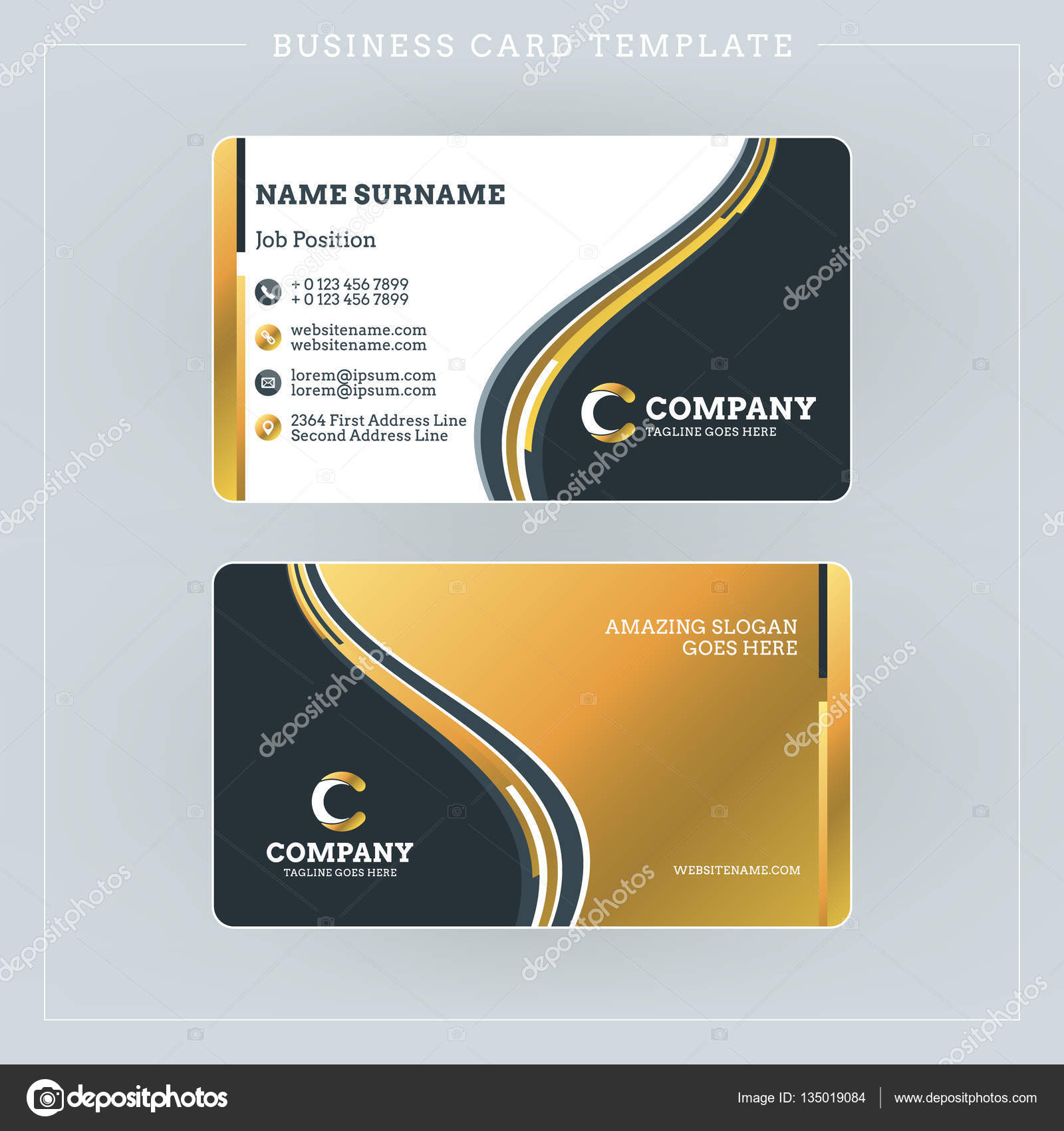 Double sided business card template with abstract golden and black double sided business card template with abstract golden and black waves background vector illustration accmission Choice Image