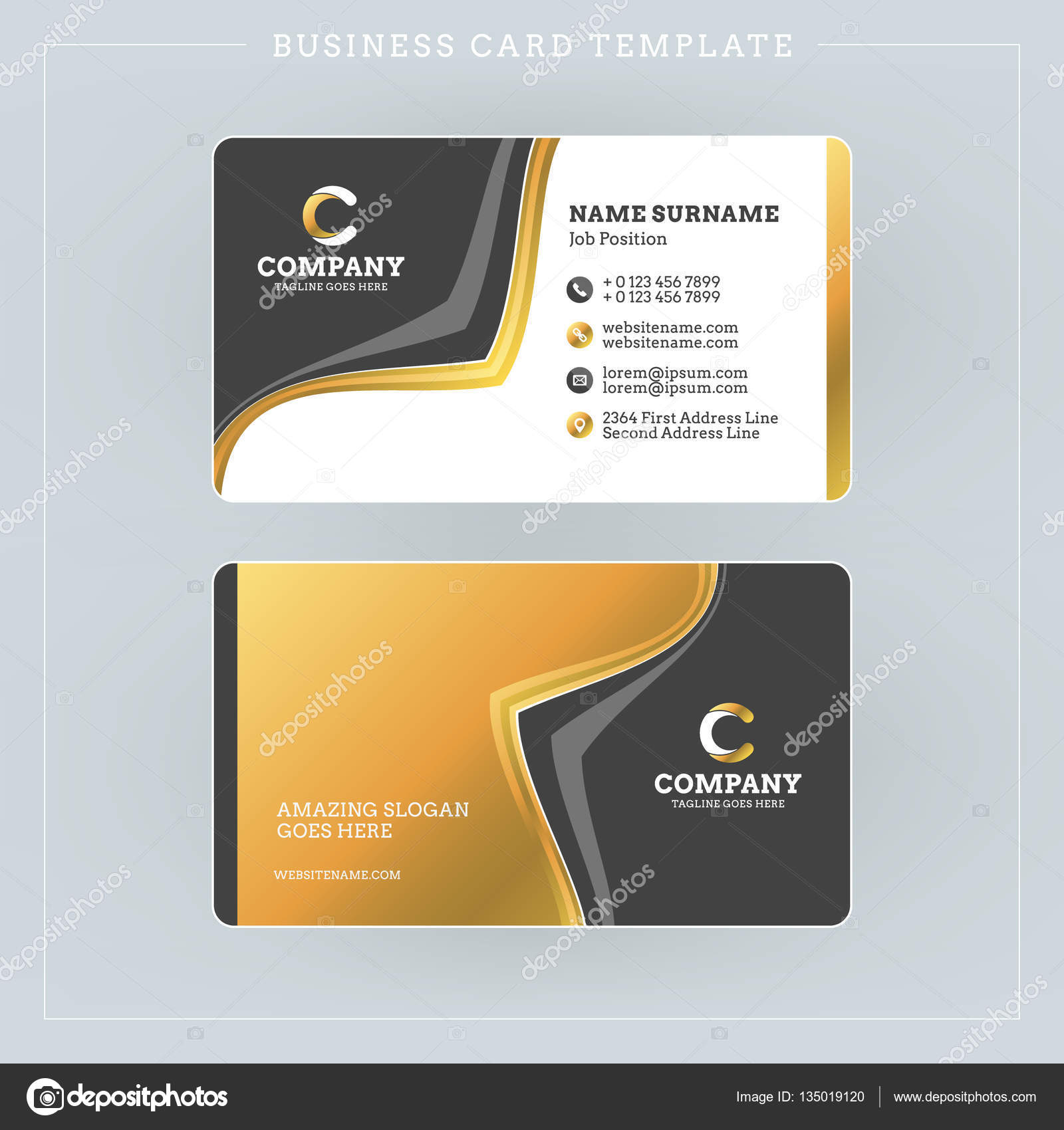 double sided business card template with abstract golden and black