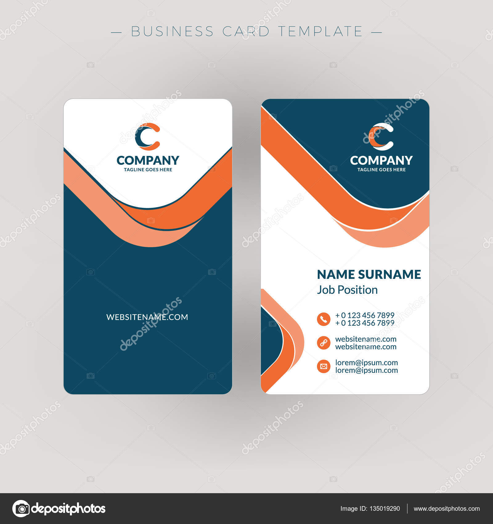 Vertical double sided business card template vector illustration vertical double sided business card template vector illustration stationery design stock vector cheaphphosting Gallery