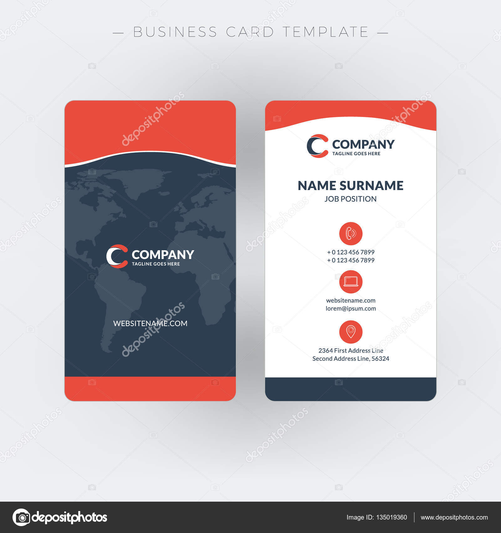 Vertical double-sided business card template. Vector illustration ...