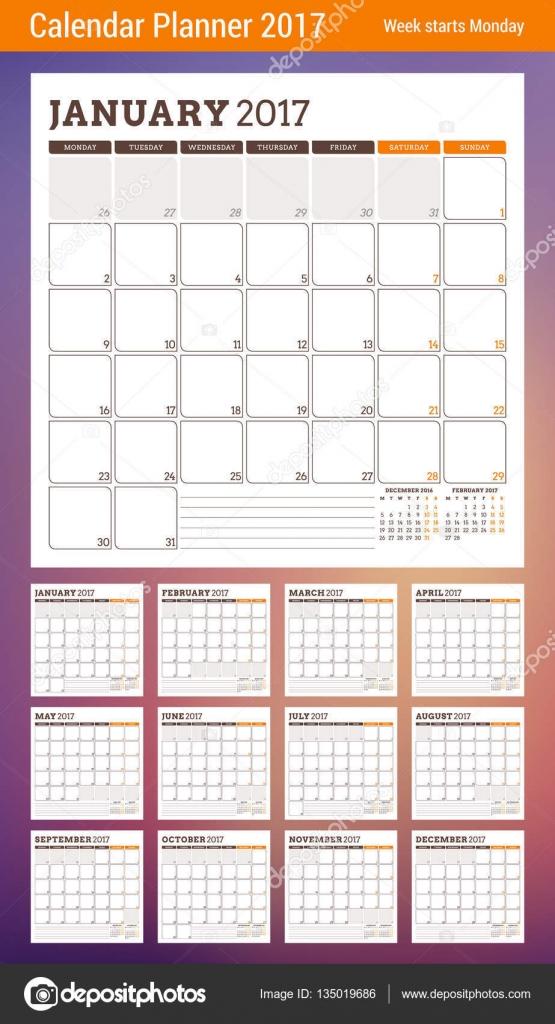 Planer-Kalendervorlage für 2017 Jahr. Woche ab Montag. 3 Monate auf ...
