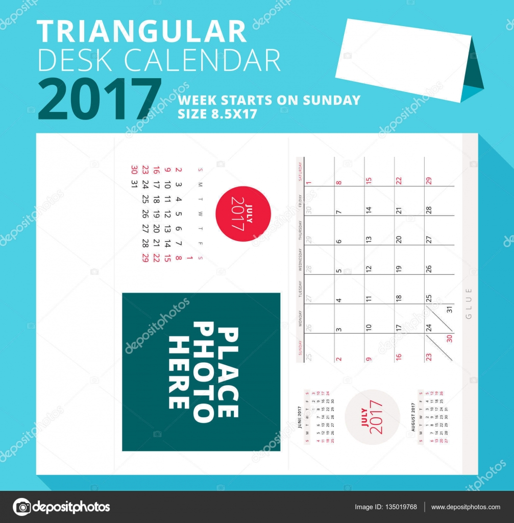 triangular desk calendar planner for 2017 year july 2017 week