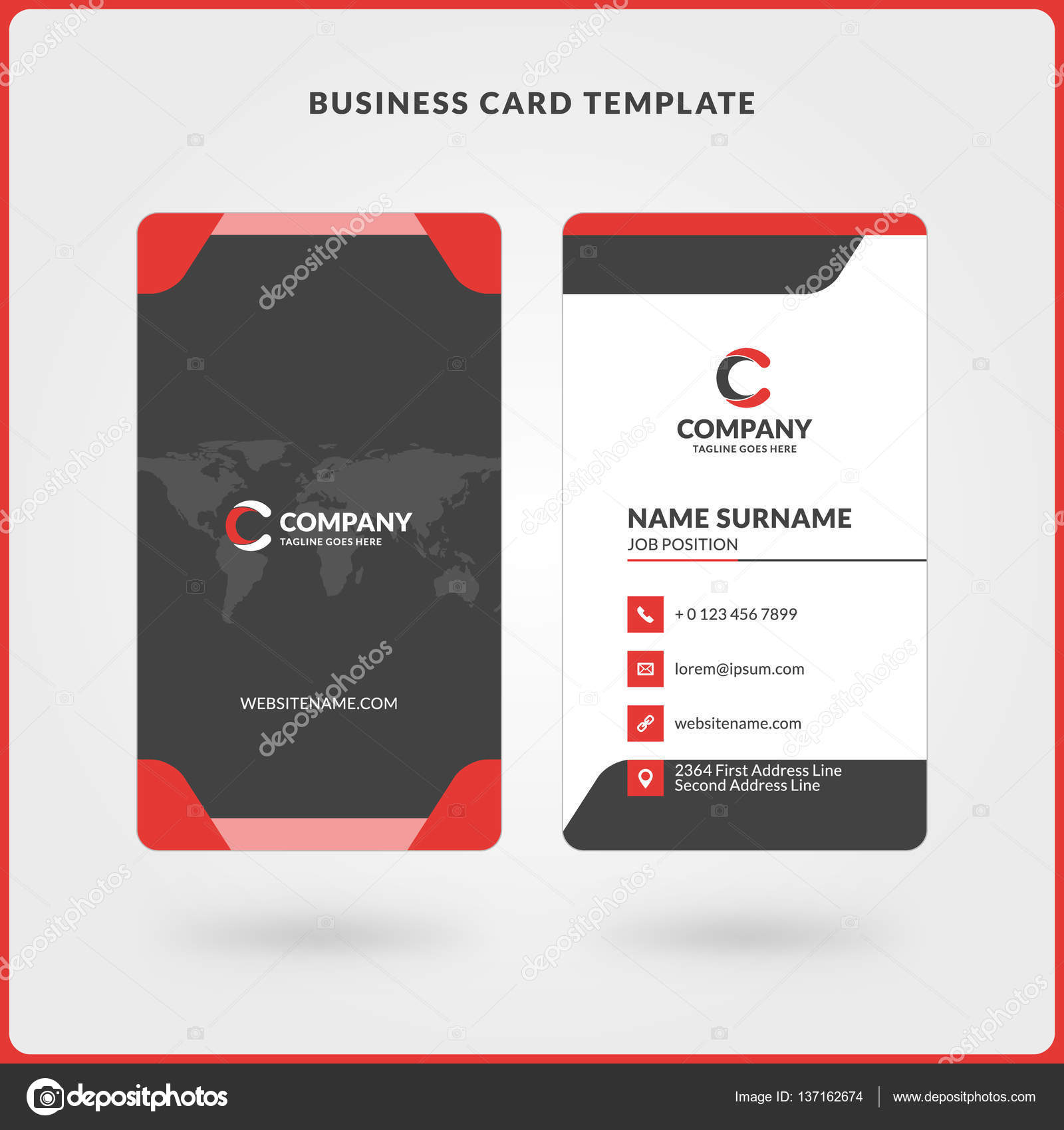 Vertical double sided business card template red and black colors vertical double sided business card template red and black colors flat design vector wajeb Images