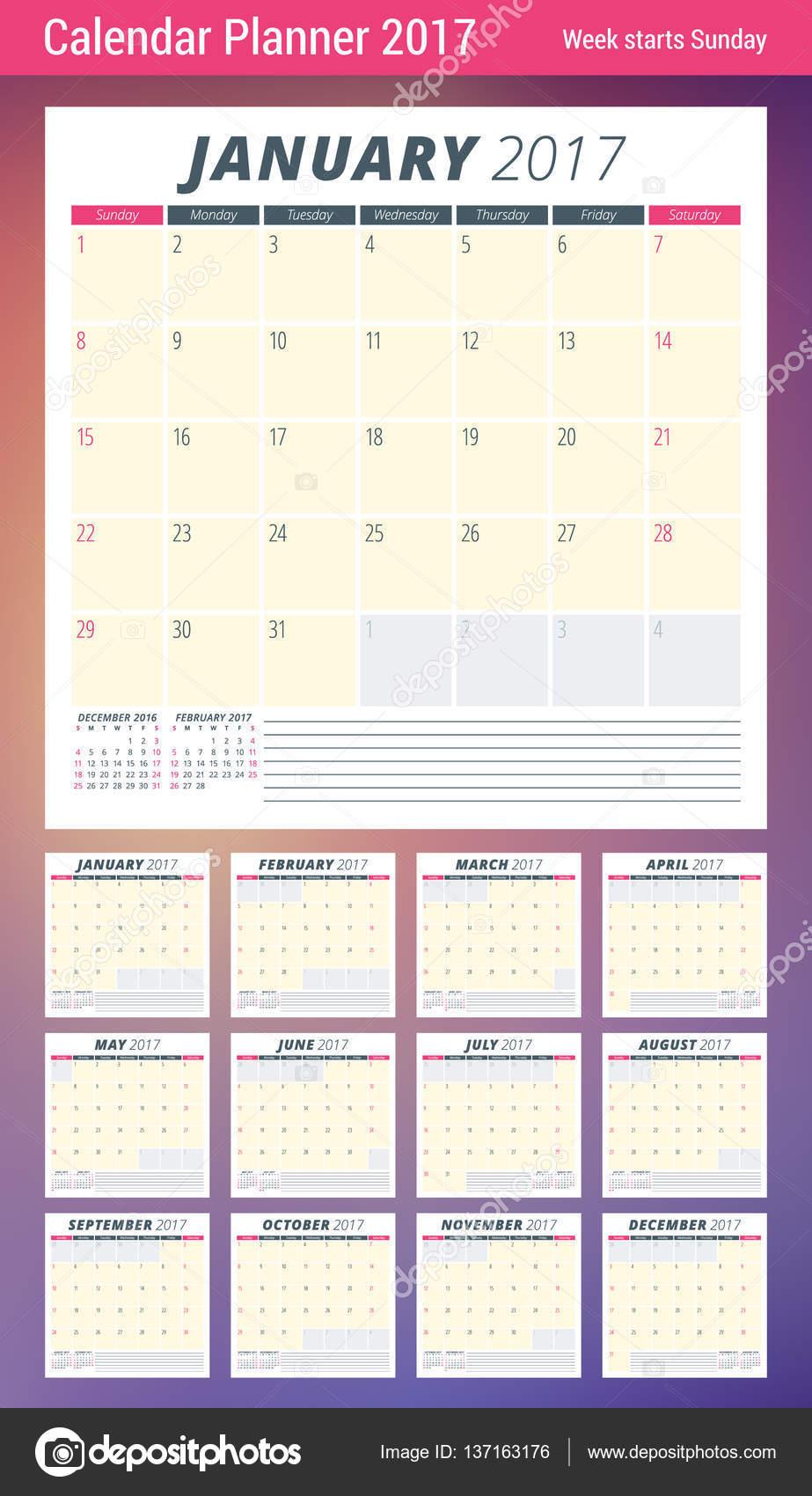 calendar planner template for 2017 year week starts sunday 3