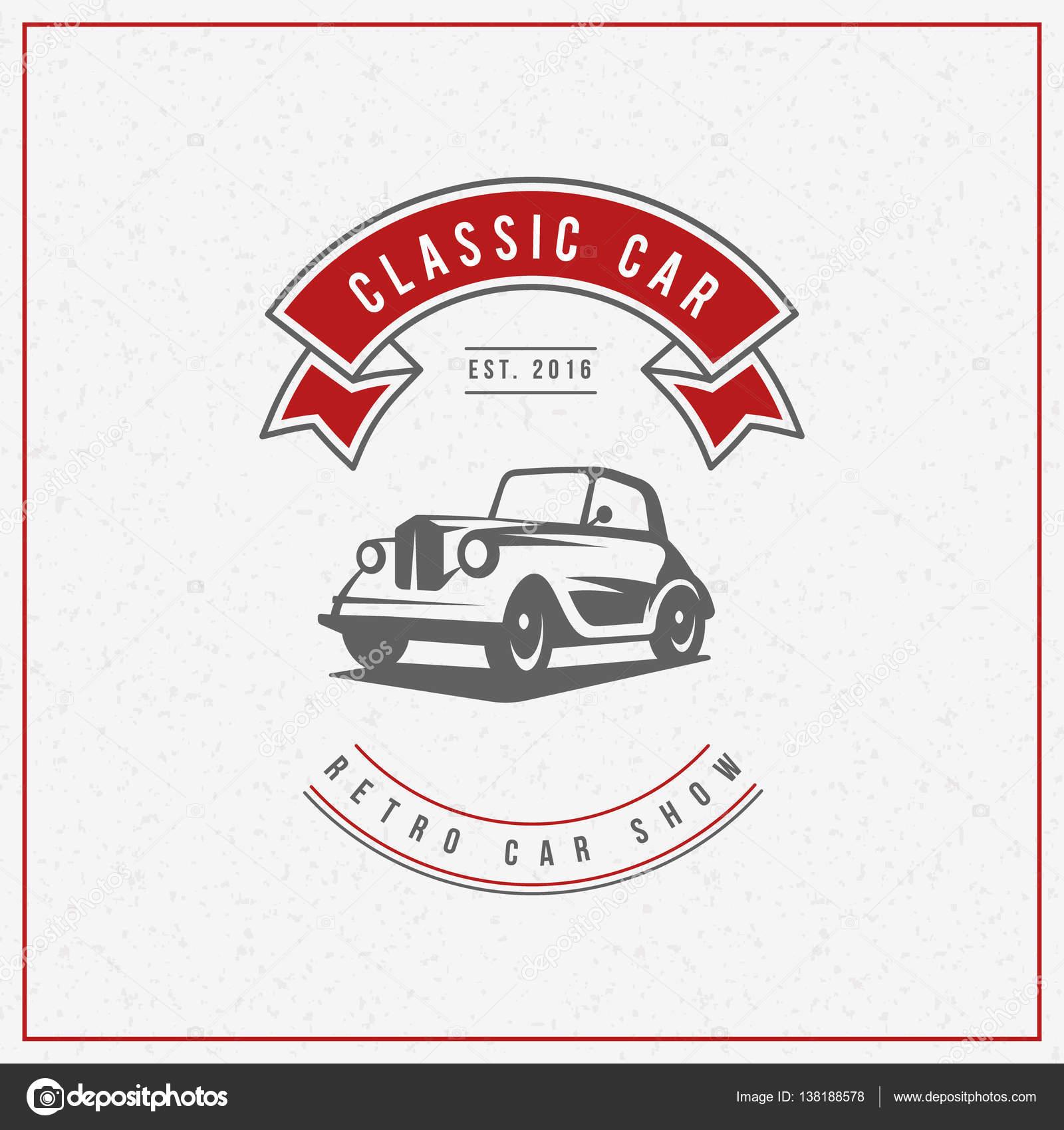 Classic car logo, emblem, badge. Service car repair, car ...