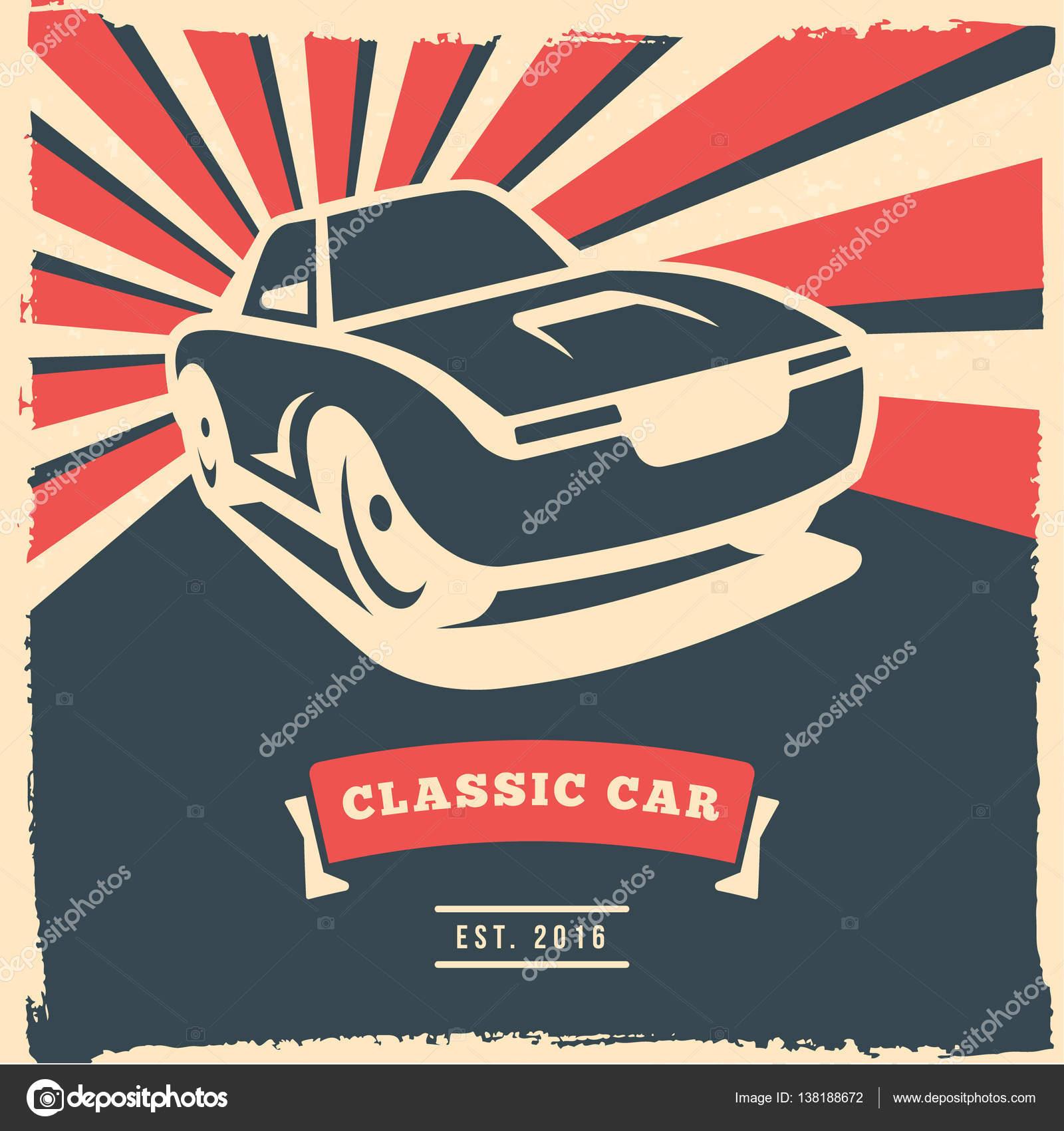 Retro-Auto-Flyer oder Poster Design mit Grunge-Rahmen und Strahlen ...