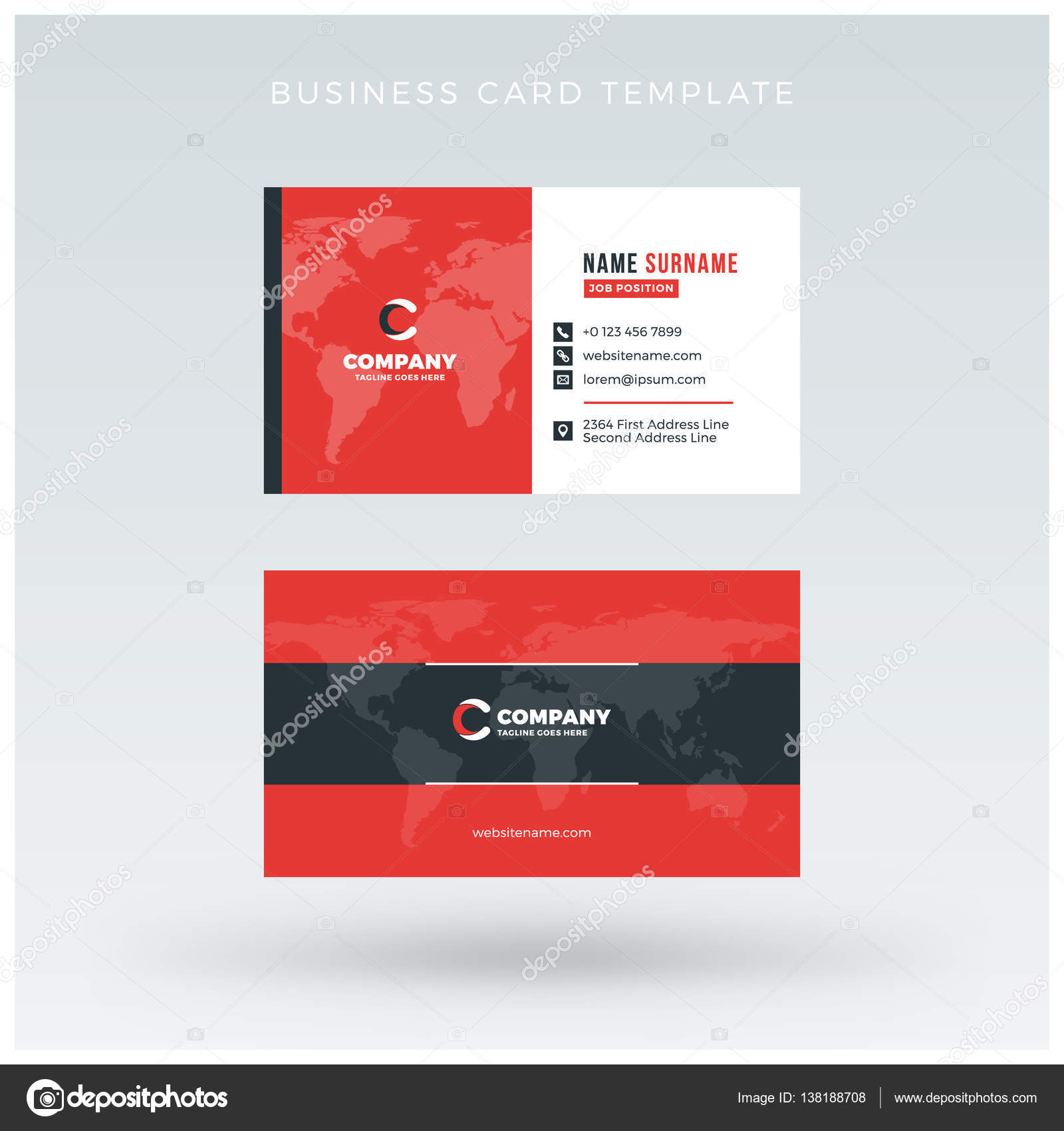 Double Sided Card Template | Double Sided Red Business Card Template Vector Illustration