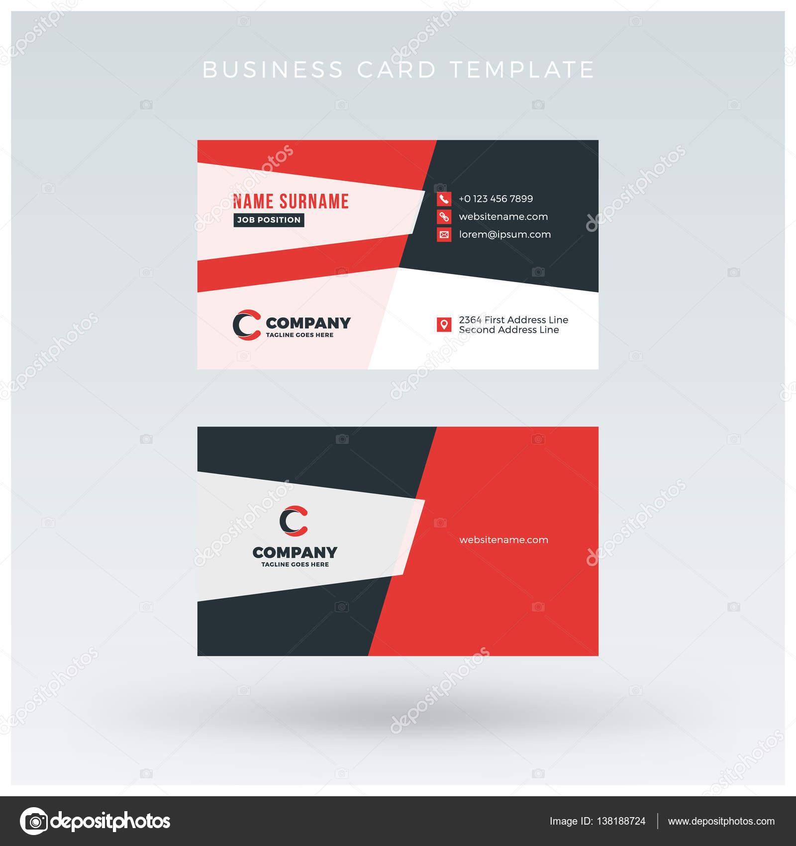 Beidseitig Rot Visitenkarte Vorlage Vektor Illustration