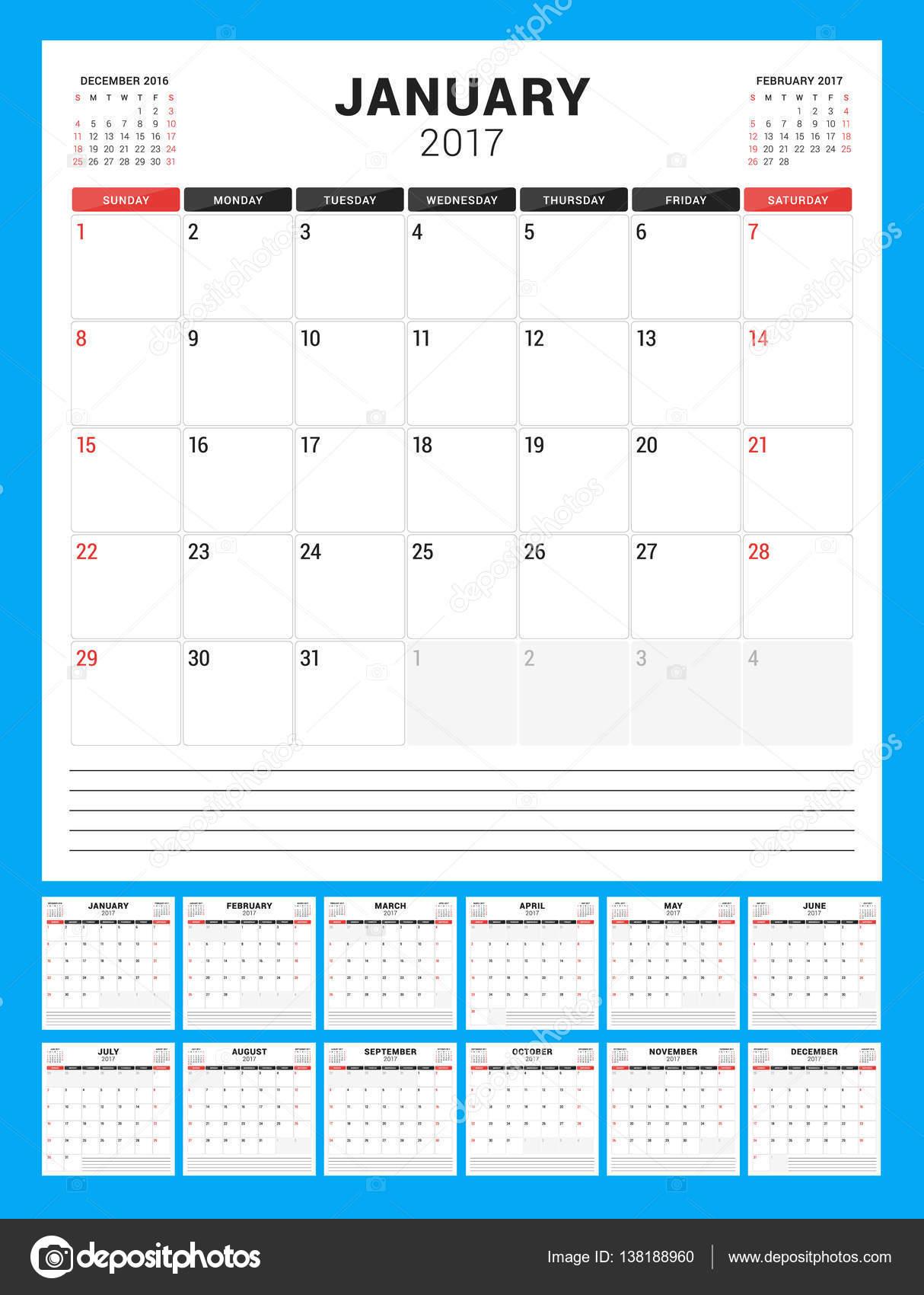 Plantilla de calendario para el año 2017. Comienza la semana Domingo ...