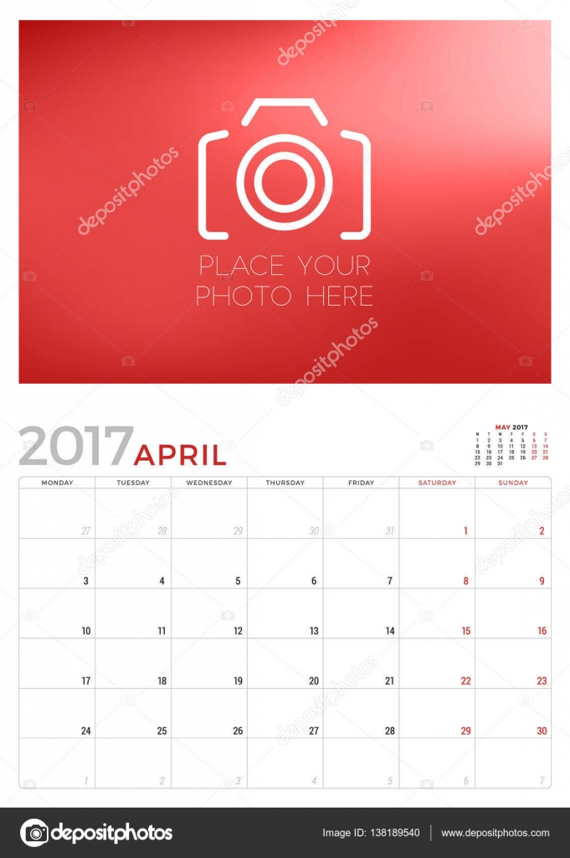 Wall Calendar Planner Template For April 2017 Week Starts Monday