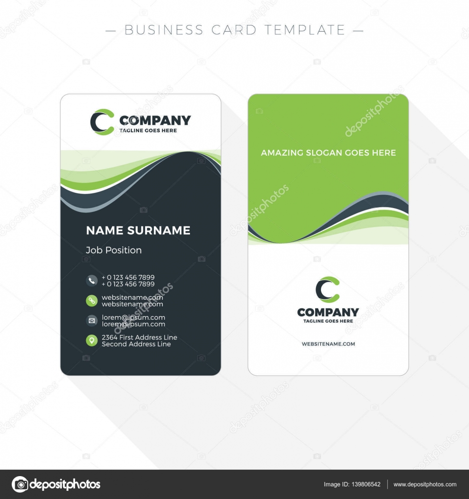 Vertical Double-sided Business Card Template with Abstract Green and ...
