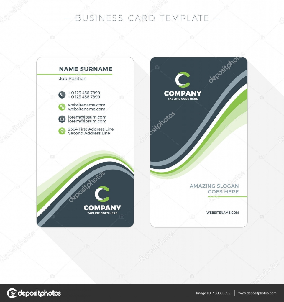 Vertical Doublesided Business Card Template With Abstract Green - Double sided business card template