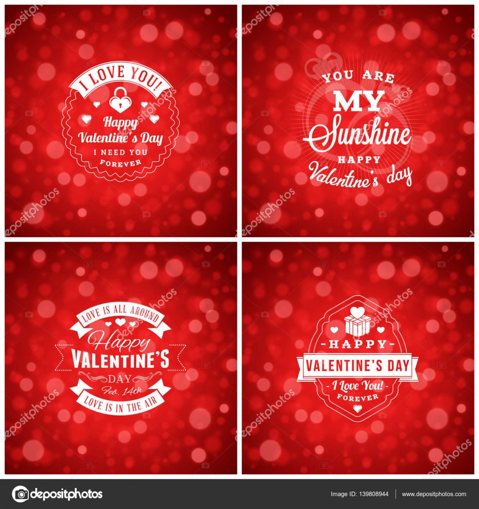 Valentinstag Karten oder Poster-Design-Vorlagen. Typografische ...