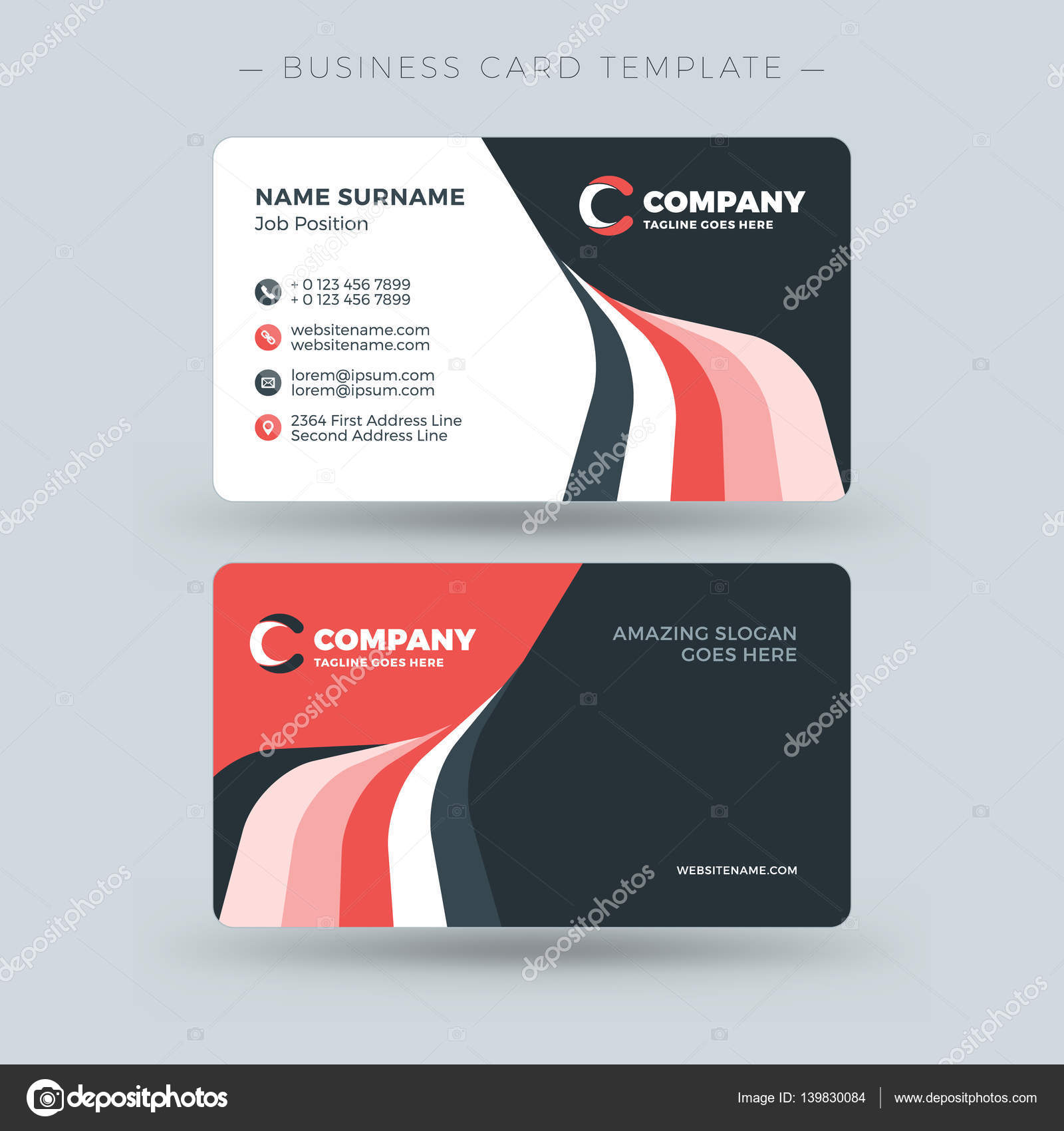 Double sided business card template with abstract red and black double sided business card template with abstract red and black waves background vector illustration colourmoves