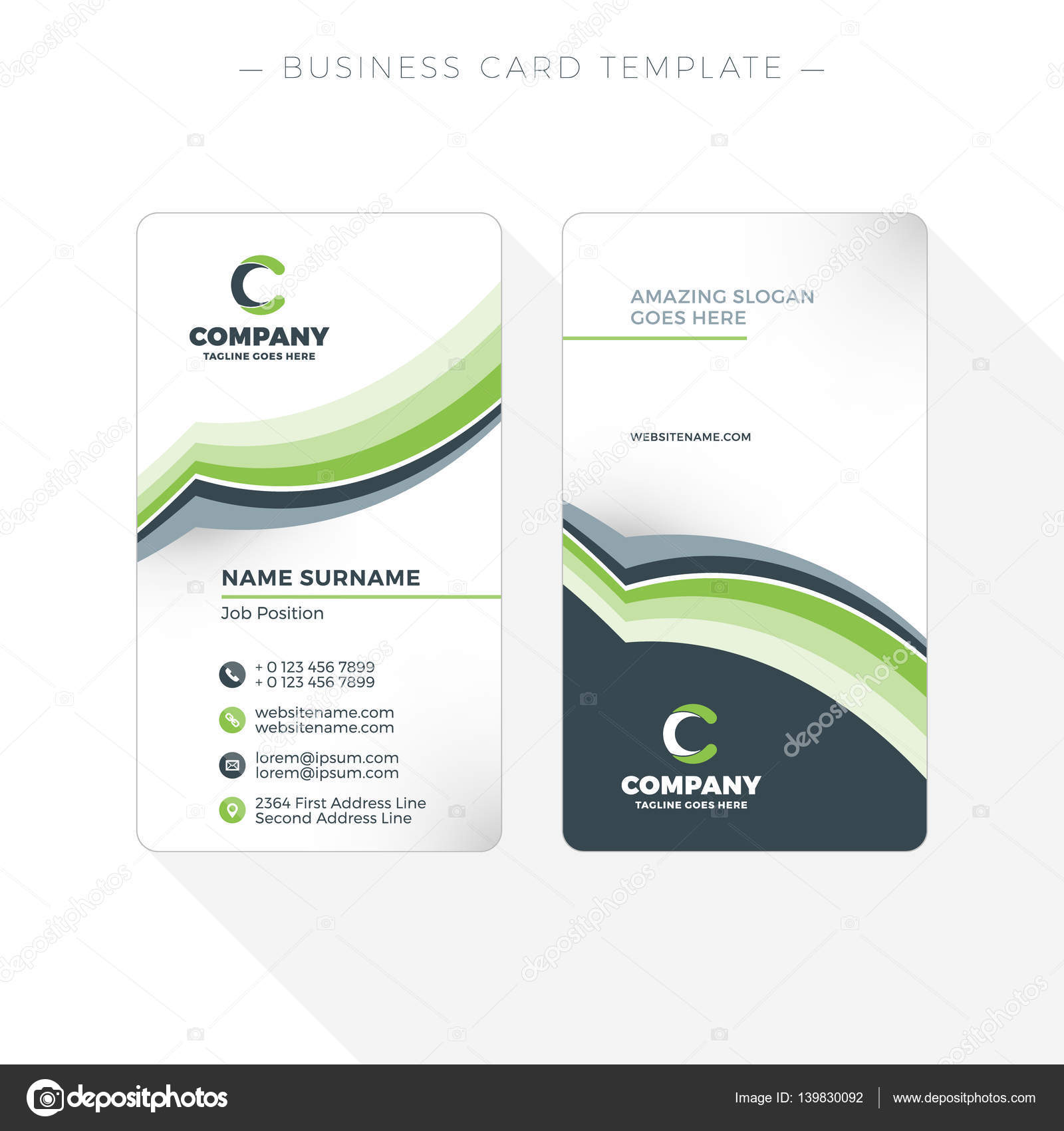 Vertical double sided business card template with abstract green and vertical double sided business card template with abstract green and black waves background vector flashek