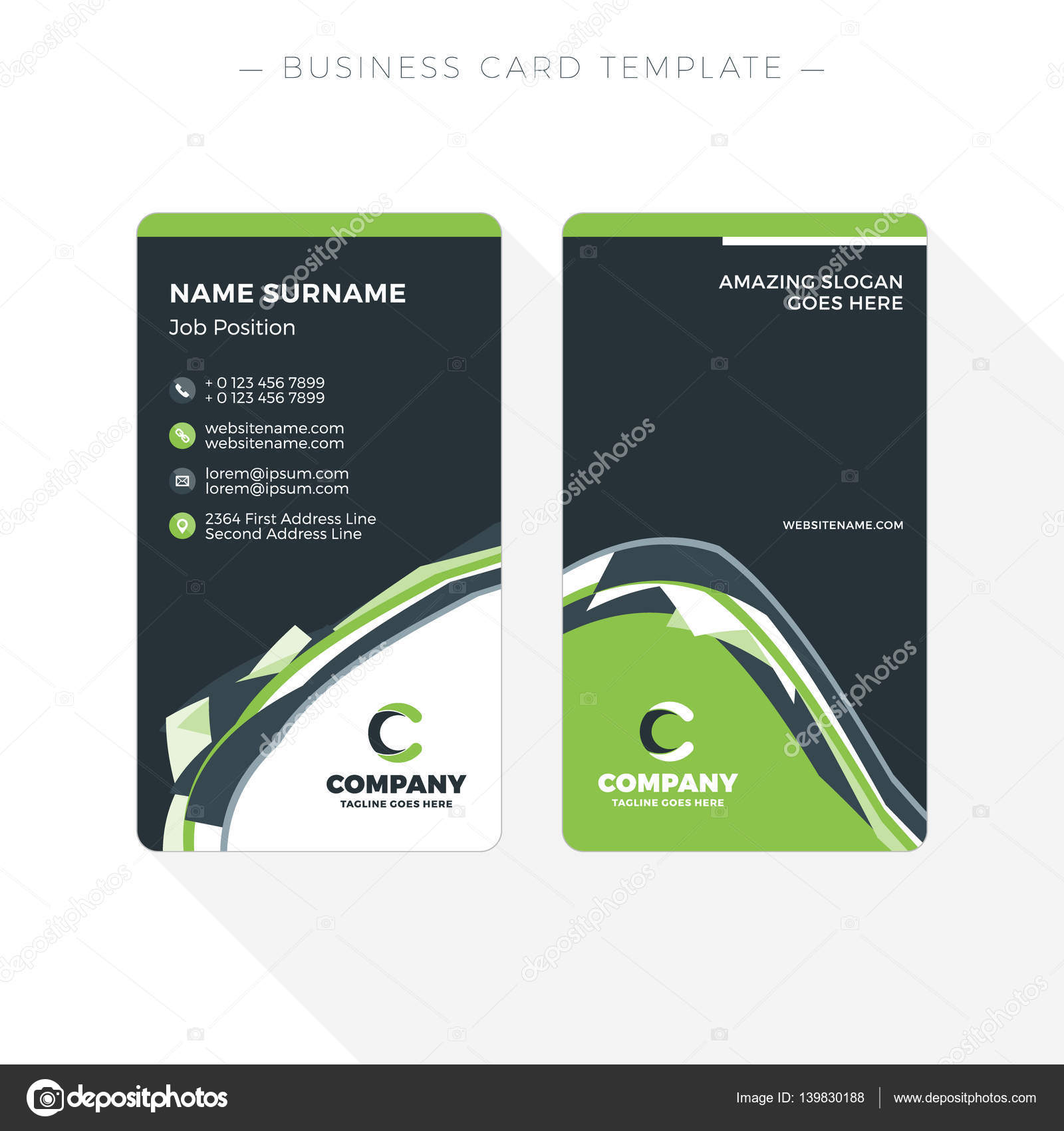 Vertical double sided business card template with abstract green and vertical double sided business card template with abstract green and black waves background vector flashek Gallery