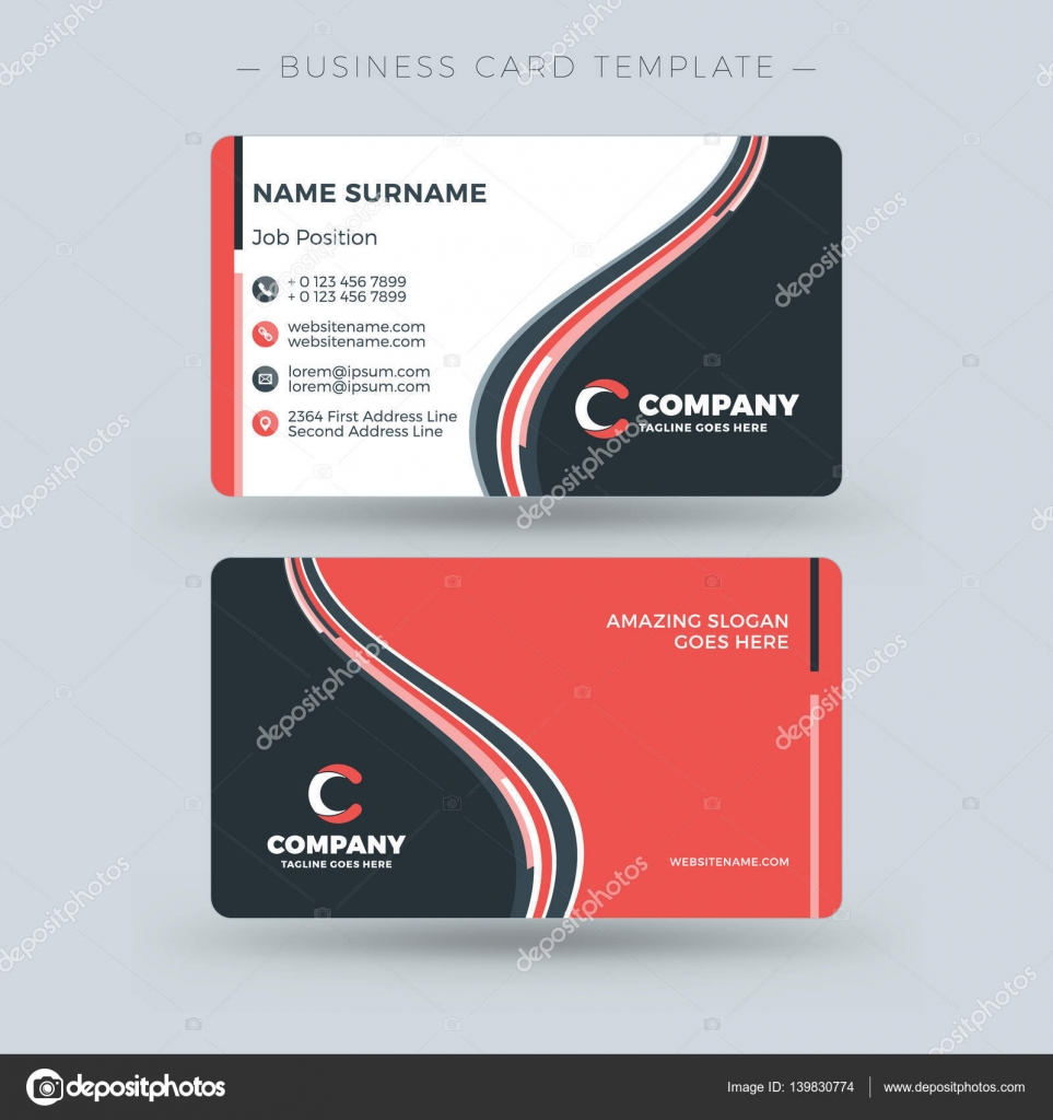 Double-sided Business Card Template with Abstract Red and Black ...