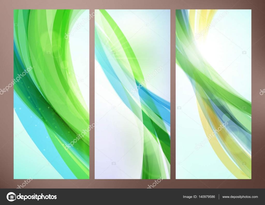Reihe von abstrakten grüne Welle Hintergründen für Poster, Flyer ...
