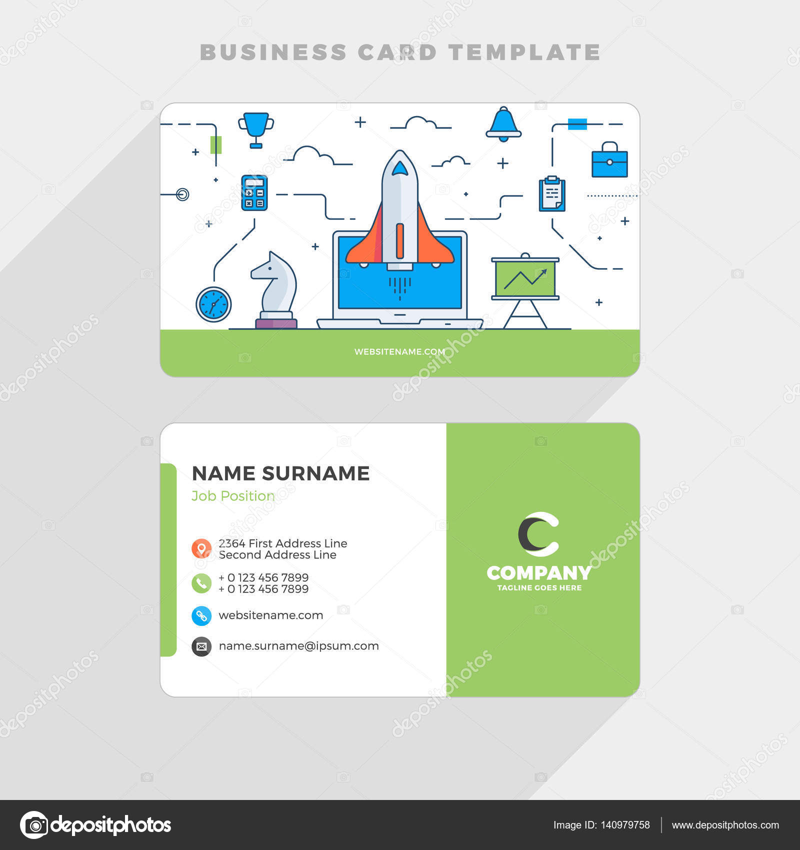 Creative Business Card Template with Flat Line Illustration. Startup ...