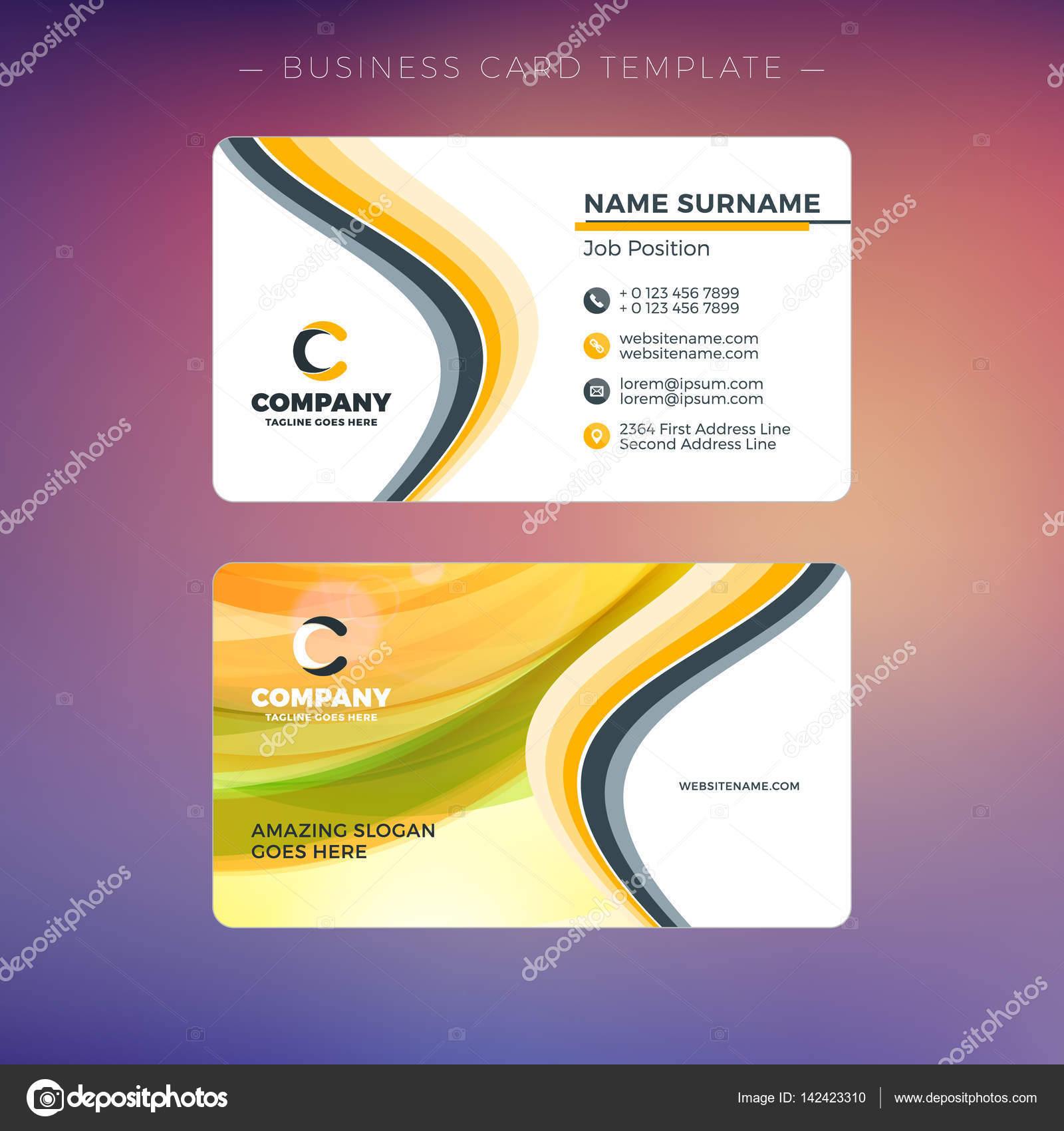 Creative Business Card Template With Abstract Background Vector