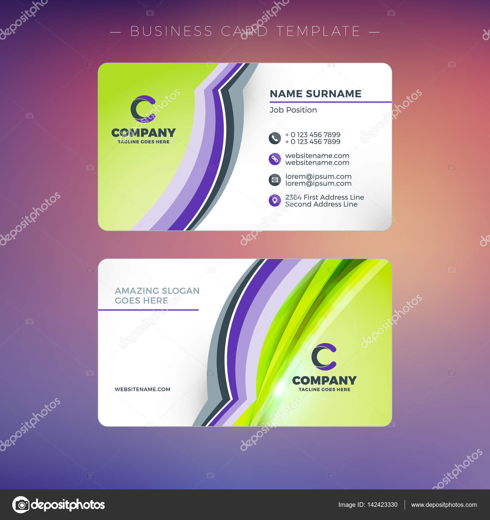Creative Business Card Template With Abstract Background Vector Illustration Stationery Design Stock