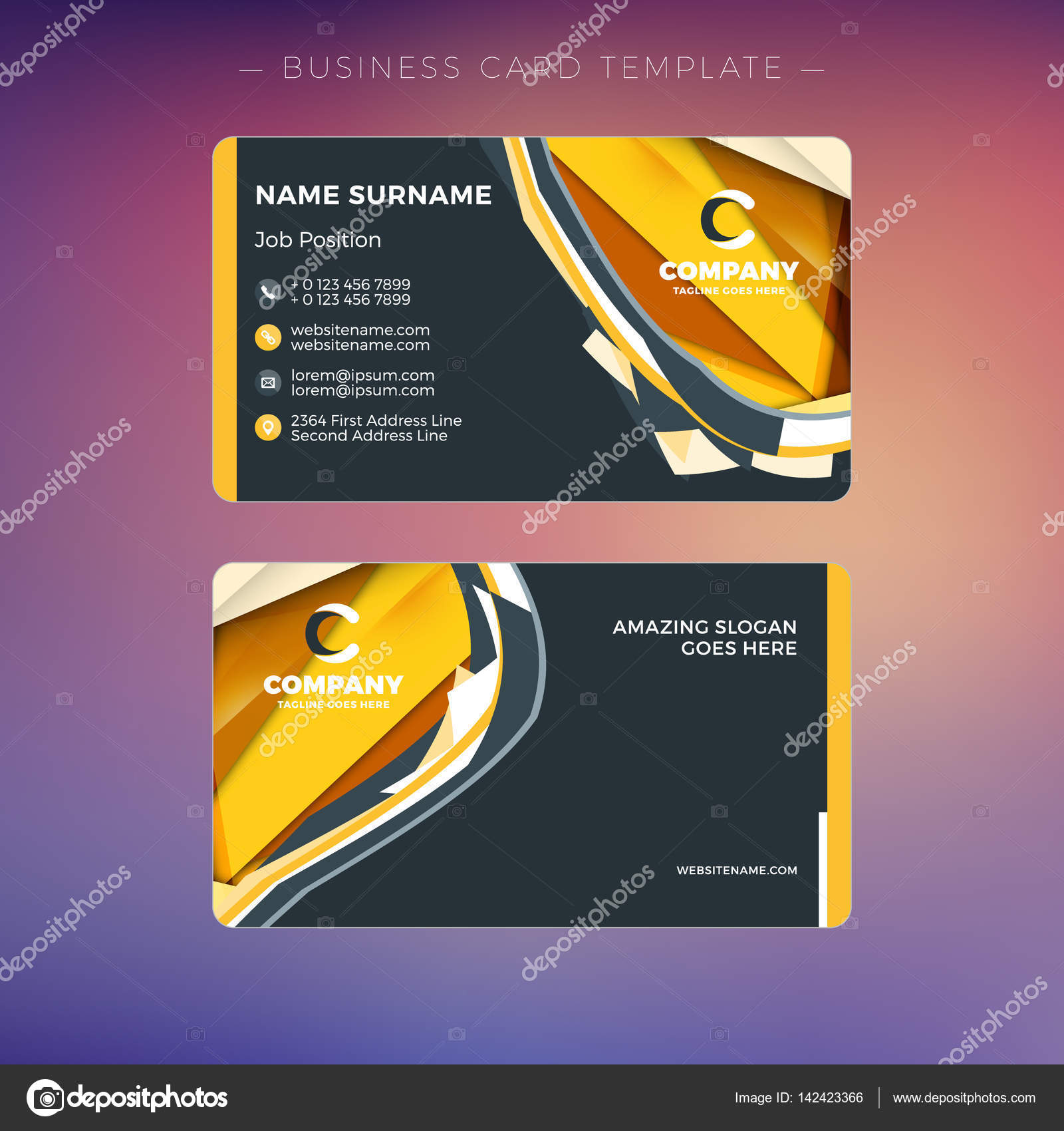 Creative business card template with abstract background vector creative business card template with abstract background vector illustration stationery design stock vector flashek Choice Image