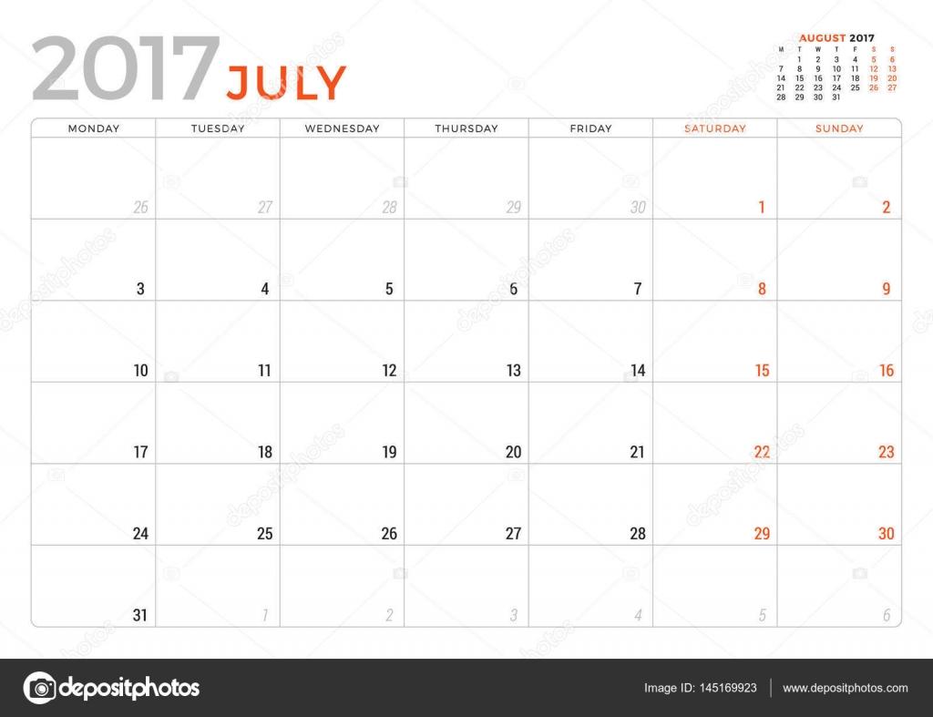 2017 年 7 月のカレンダー プランナーベクター デザインの