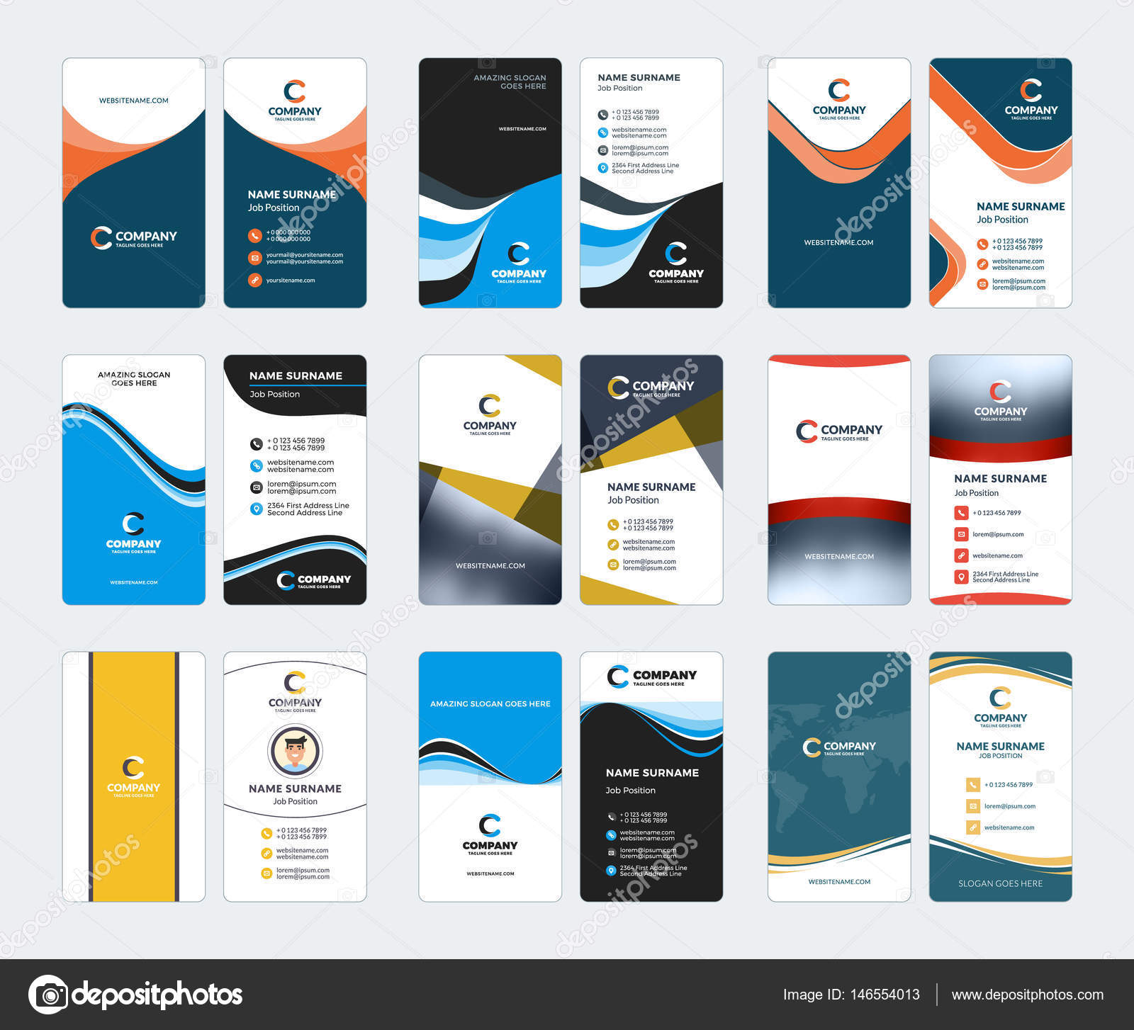 Collection of vertical business card vector templates stationery collection of vertical business card vector templates stationery design vector set stock vector reheart Images