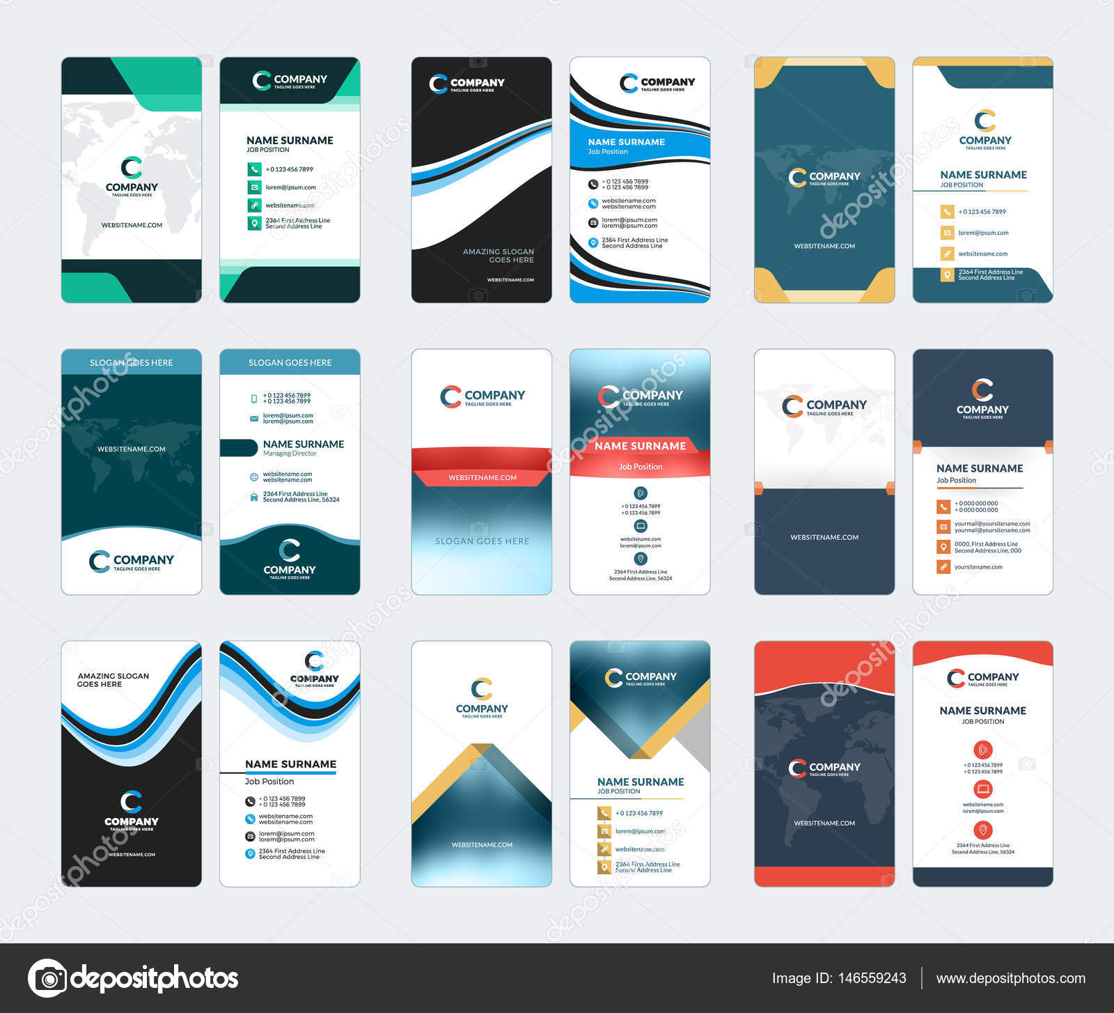 Collection of vertical business card vector templates stationery collection of vertical business card vector templates stationery design vector set stock vector reheart Image collections