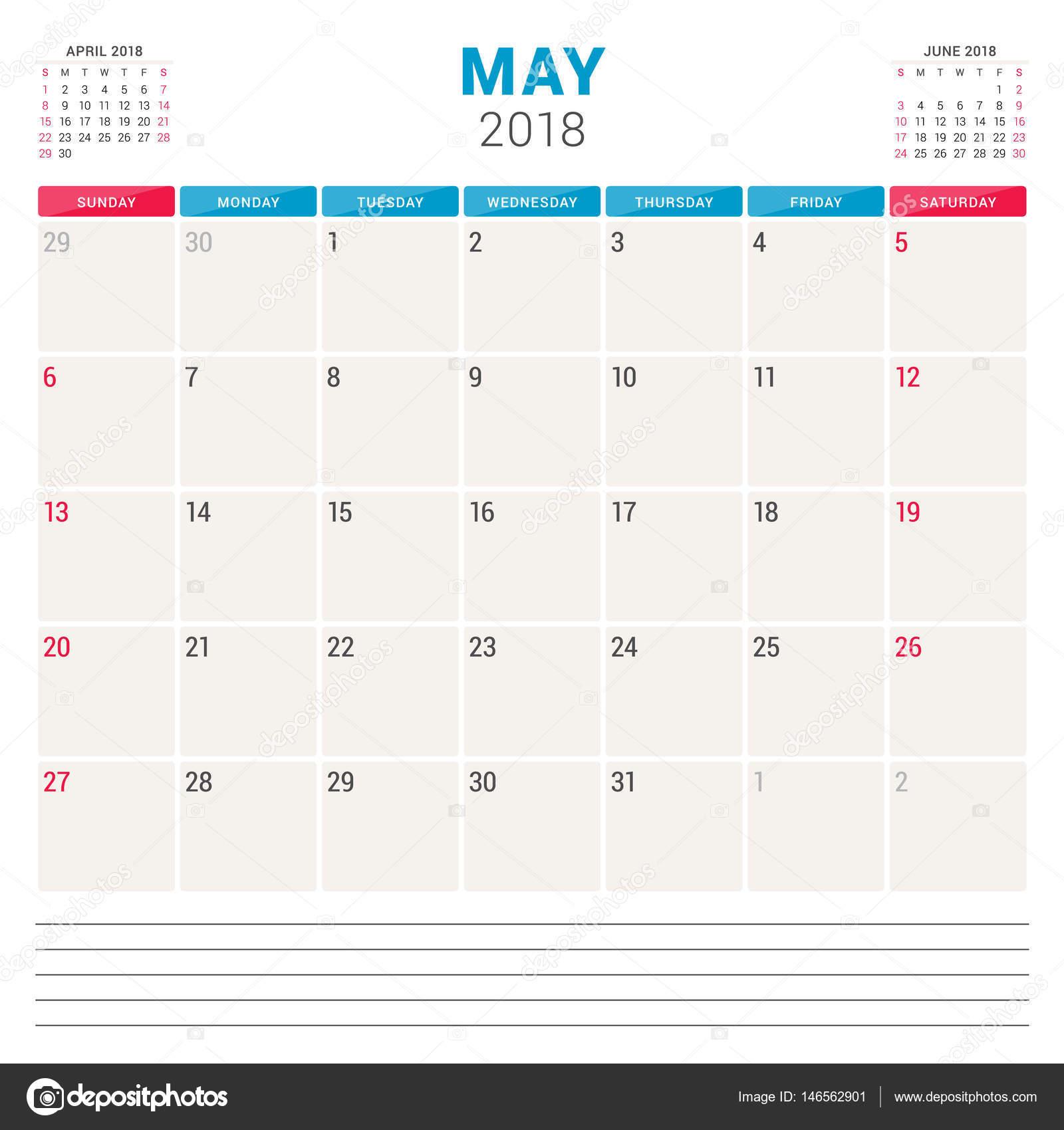 may 2018 calendar planner vector design template week starts on