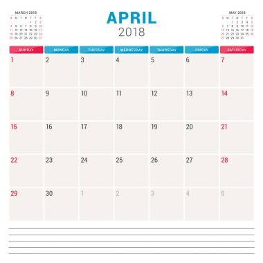 April 2018. Calendar planner vector design template. Week starts on Sunday. Stationery design