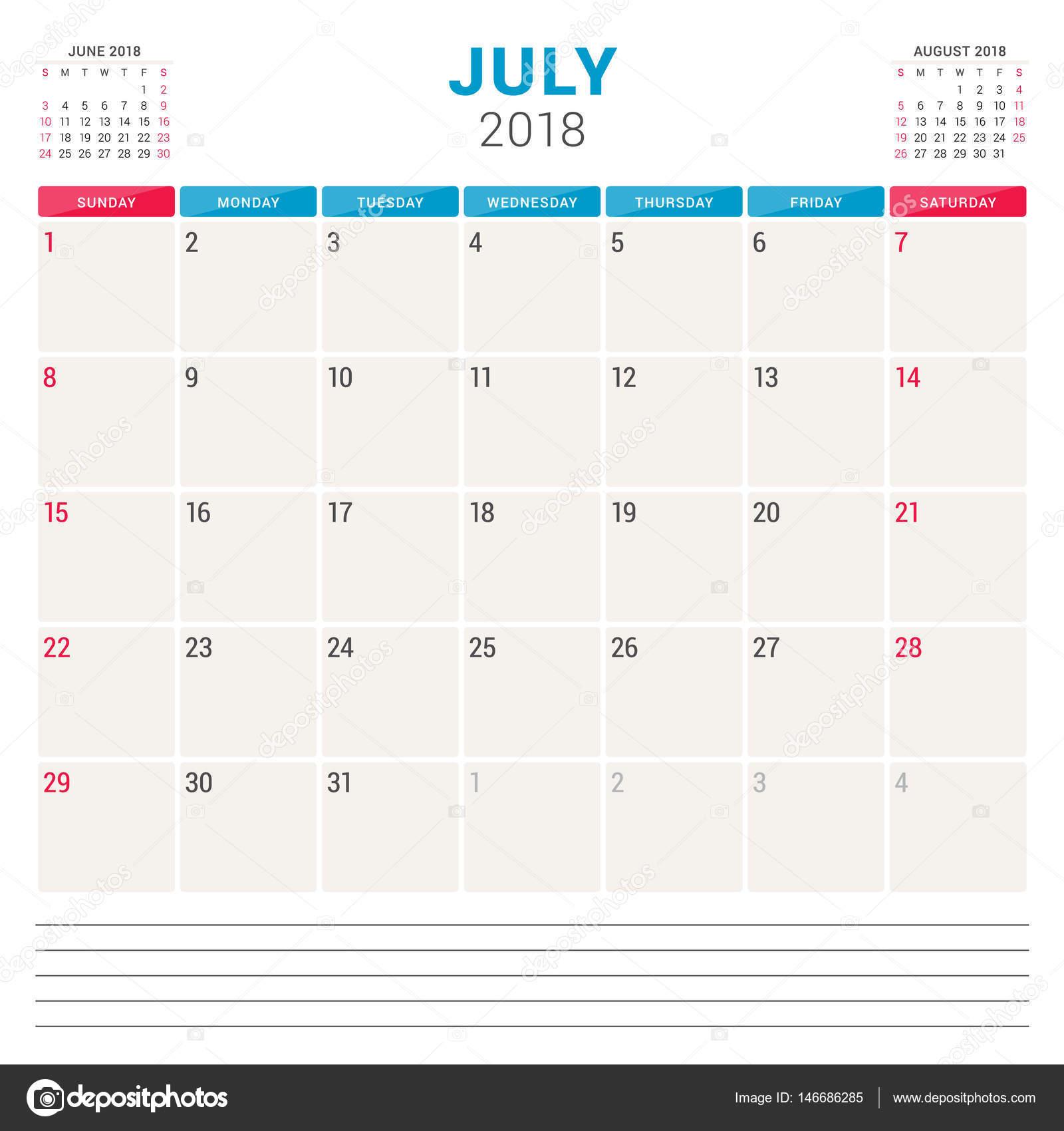 2018 年 7 月。カレンダー プランナー ベクター デザイン テンプレートです。週は日曜日に開始します。文具デザイン\u2013 ストックイラスト