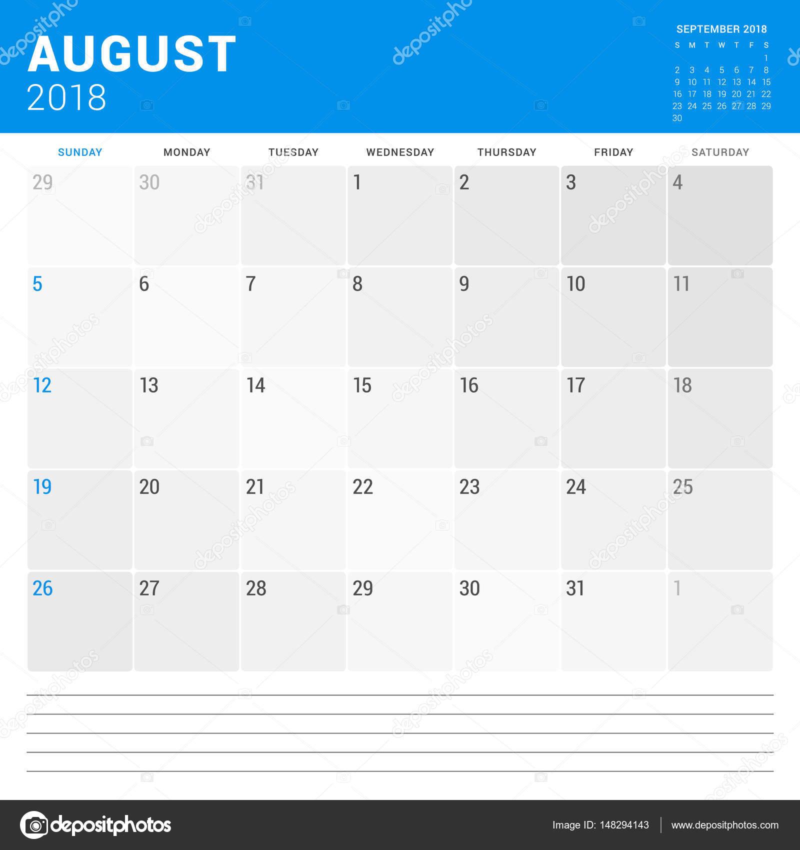 2009 s naptár August 2018. Calendar planner vector design print template. Week  2009 s naptár