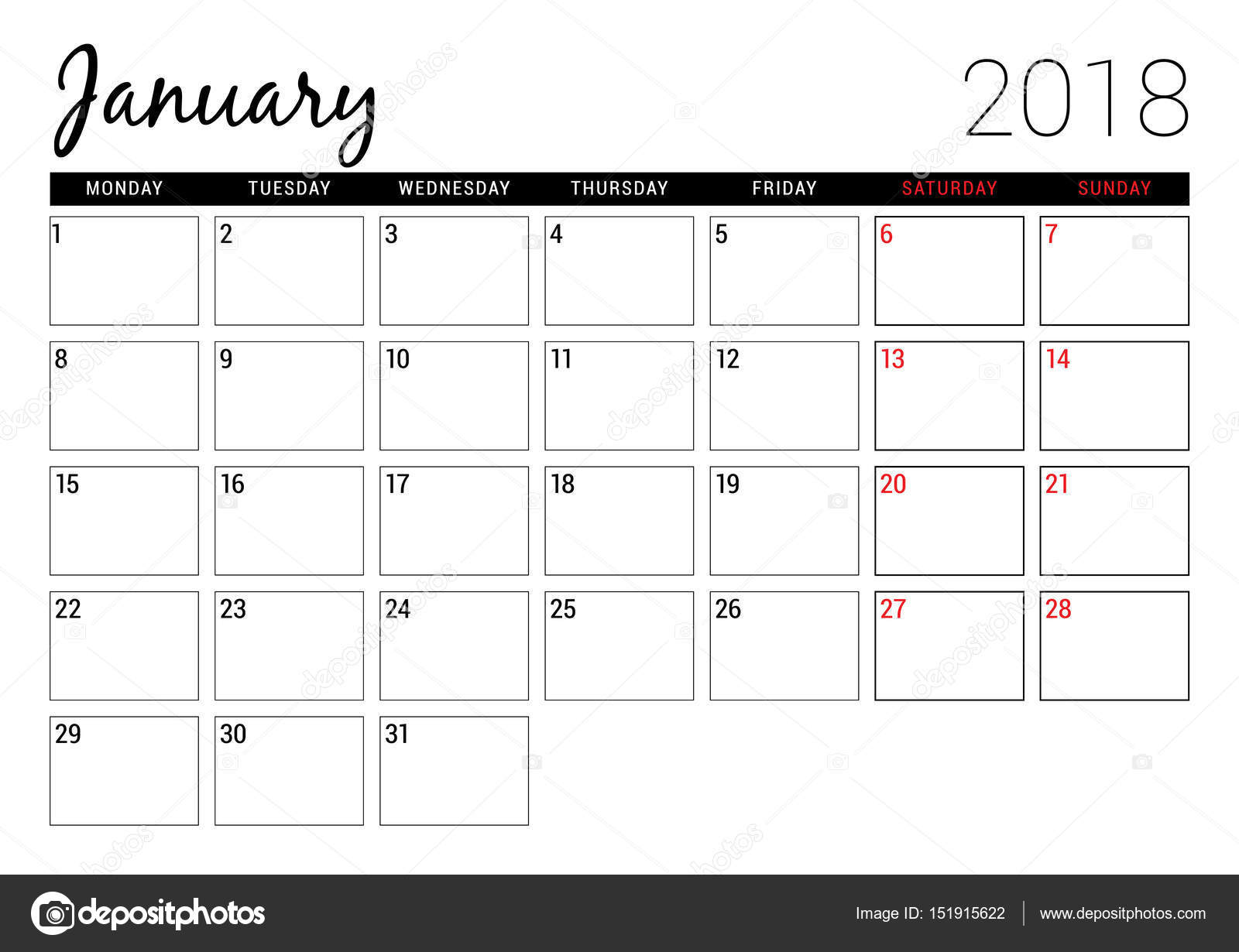 January 2018. Printable calendar planner design template
